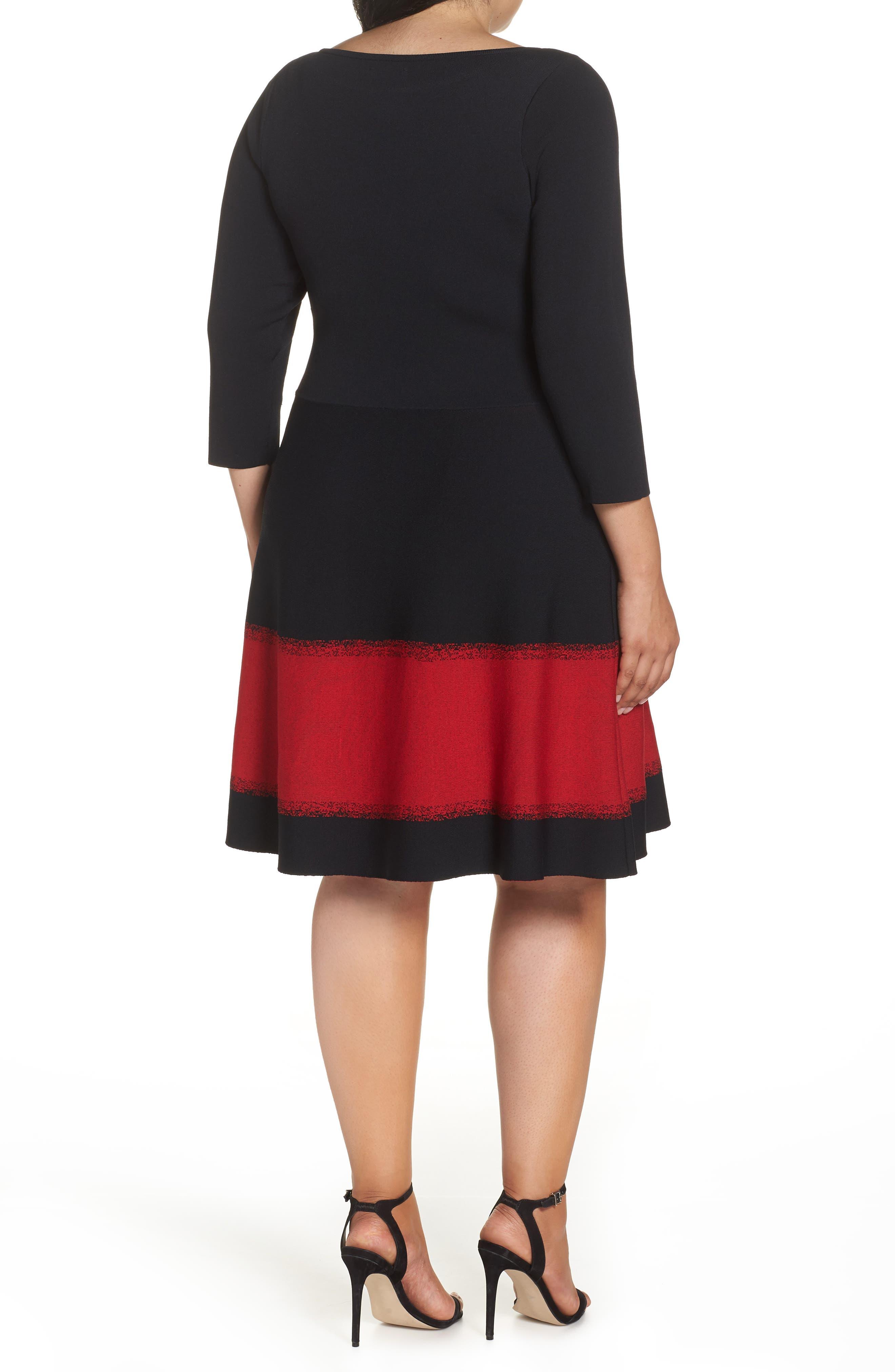 Contrast Stripe Fit & Flare Dress,                             Alternate thumbnail 2, color,                             BLACK