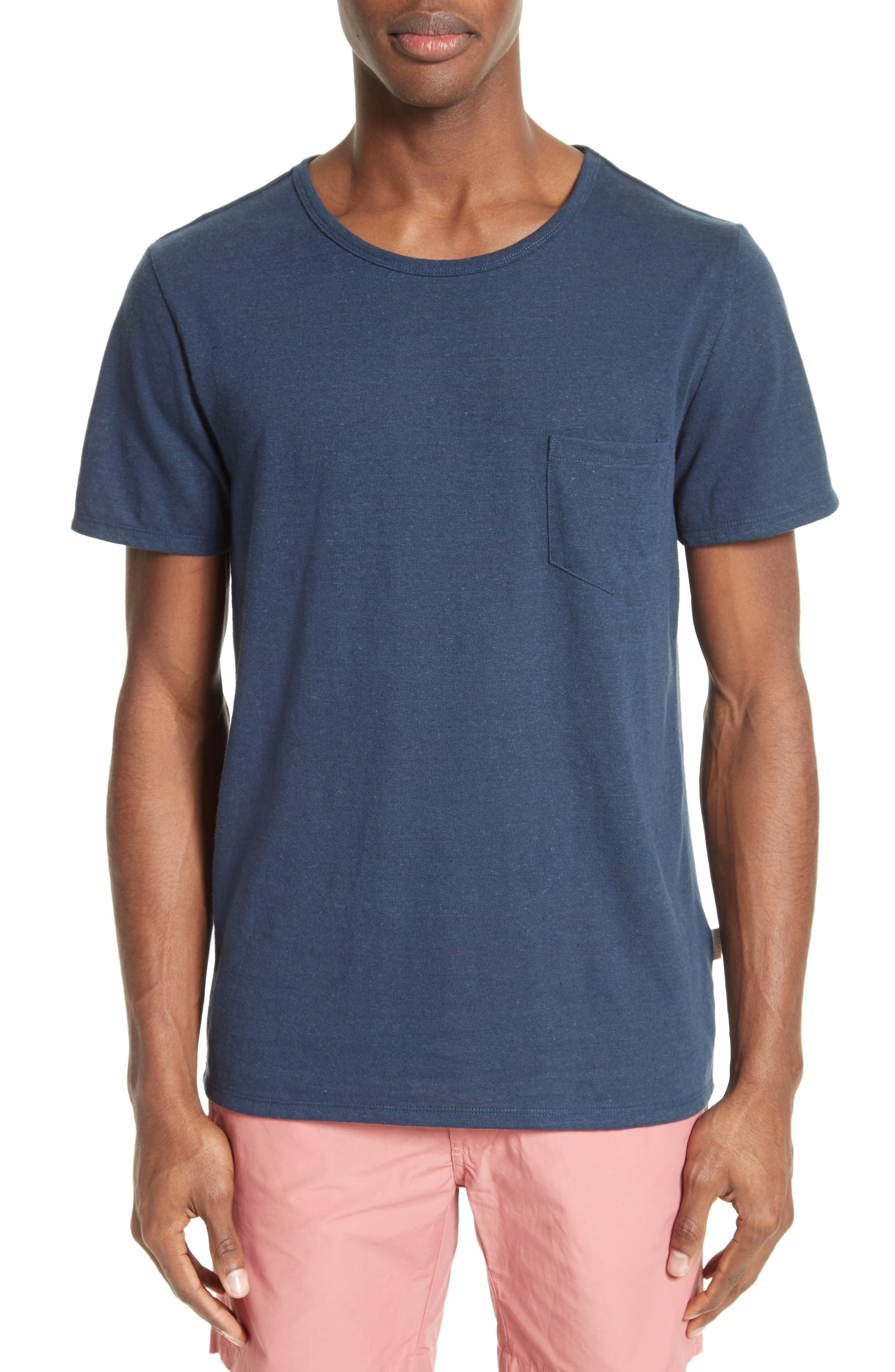 Chad Linen Blend Pocket T-Shirt,                         Main,                         color, DEEP NAVY