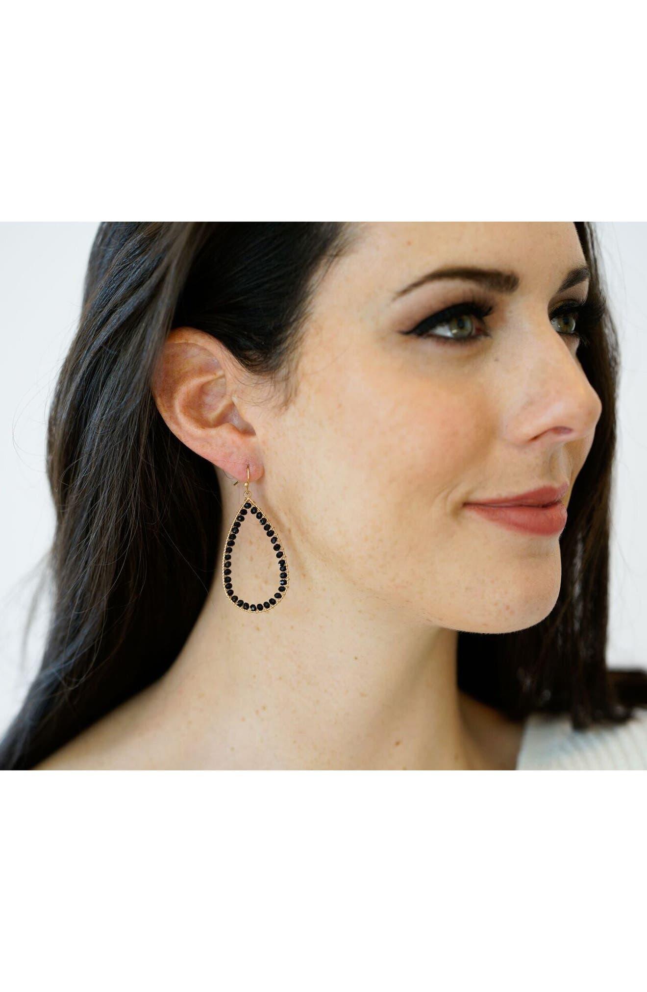 Teardrop Earrings,                             Alternate thumbnail 3, color,                             001