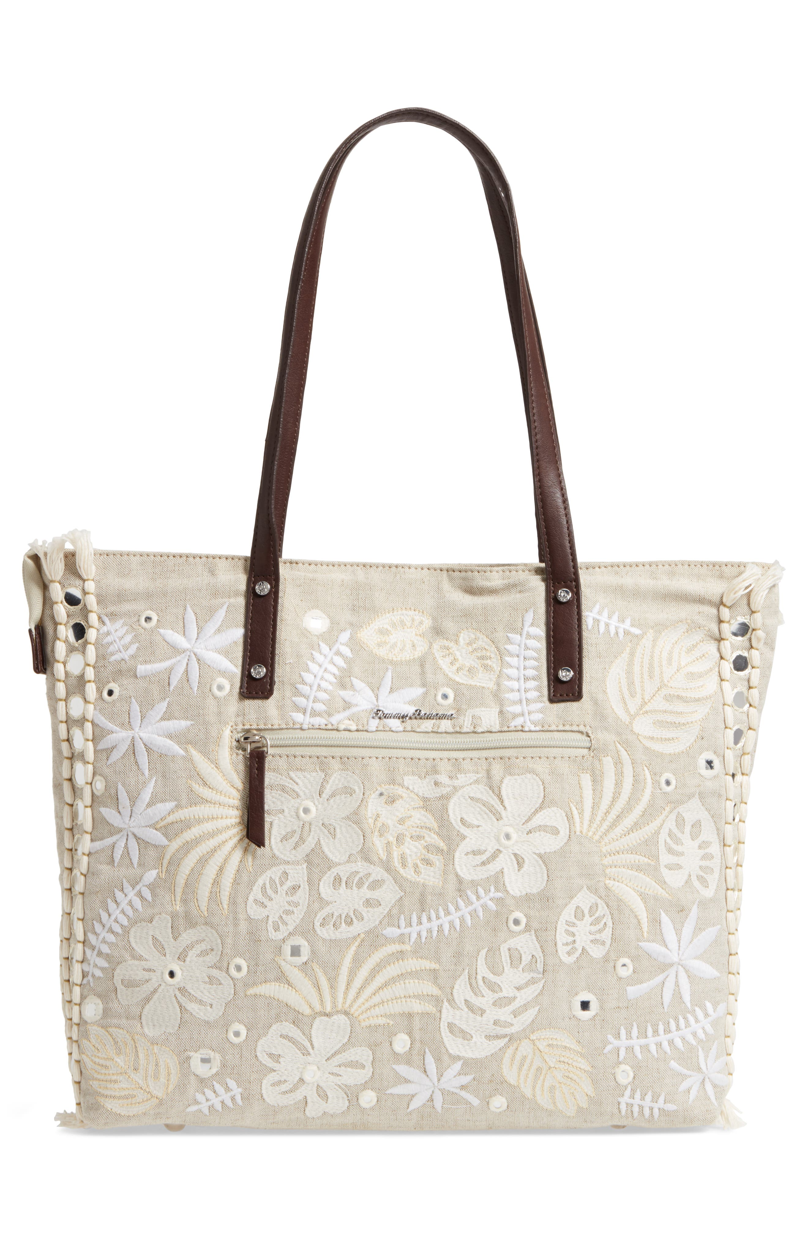Belize Embroidered Canvas Tote,                             Alternate thumbnail 3, color,                             250