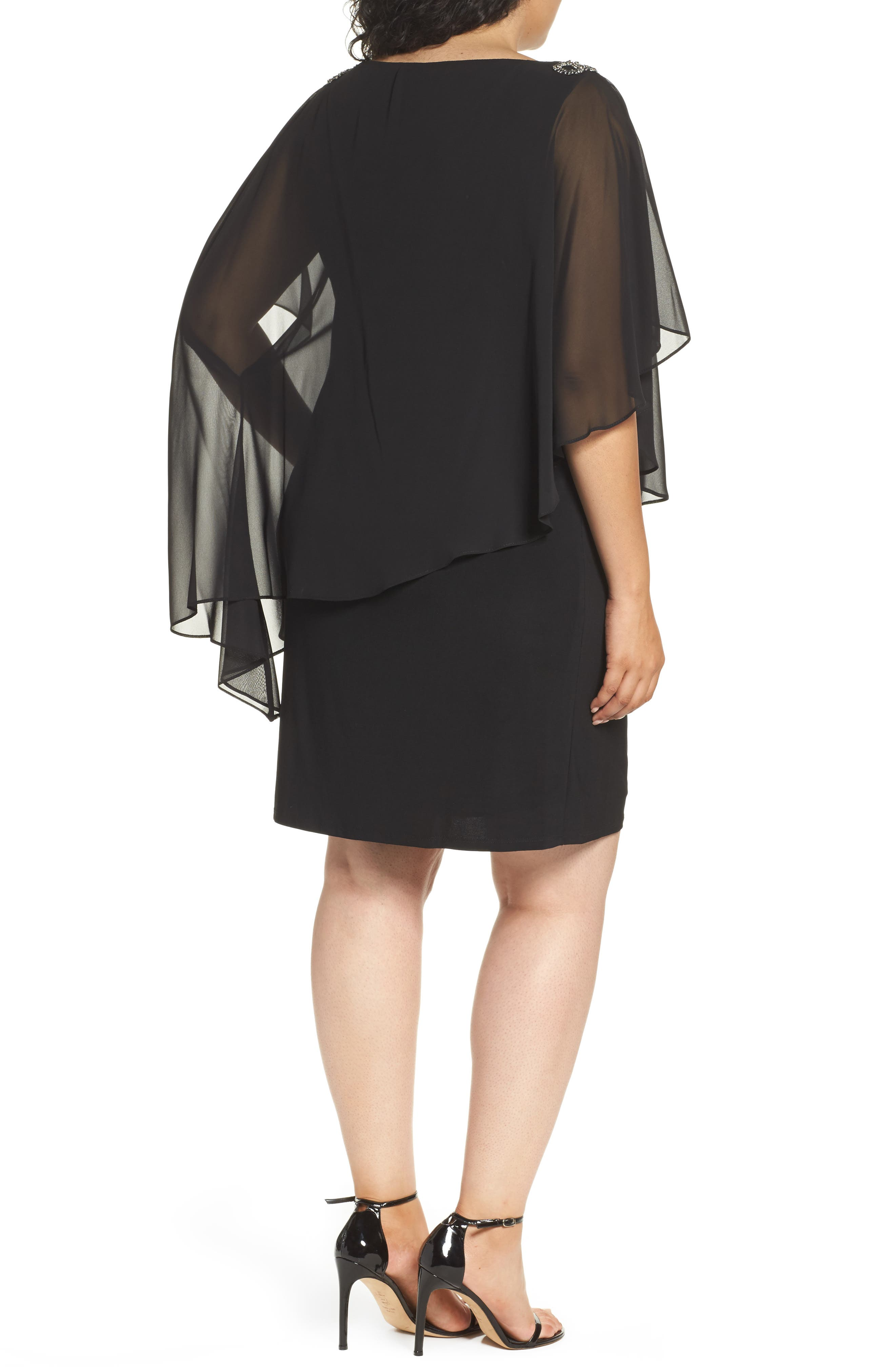 Embellished Chiffon Overlay Jersey Dress,                             Alternate thumbnail 5, color,