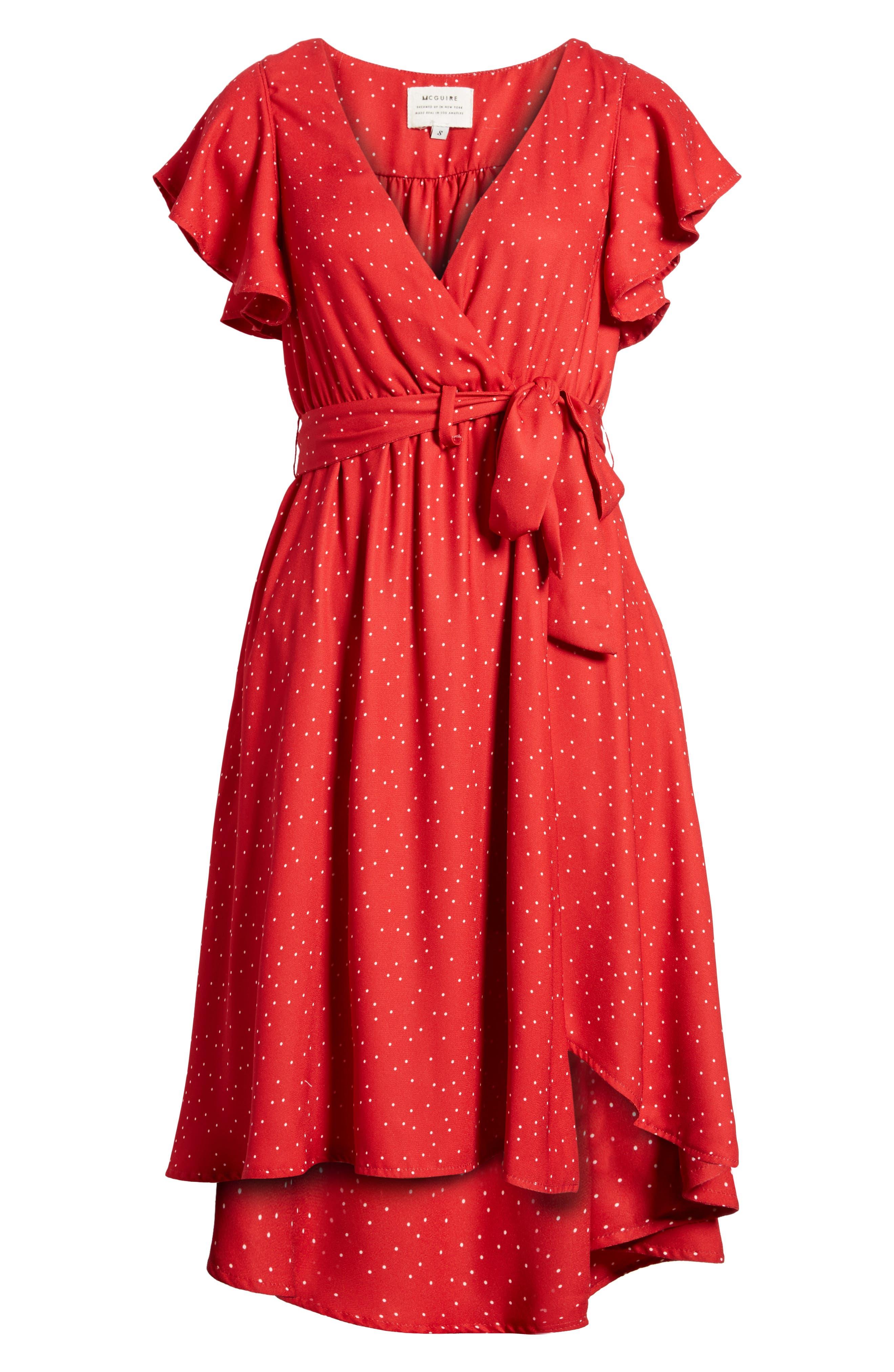 Bassinger Faux Wrap High/Low Dress,                             Alternate thumbnail 6, color,