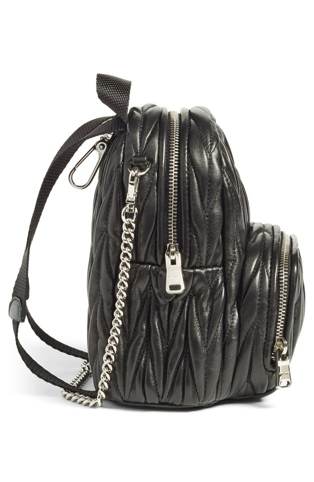 Micro Matelassé Leather Backpack,                             Alternate thumbnail 5, color,                             001
