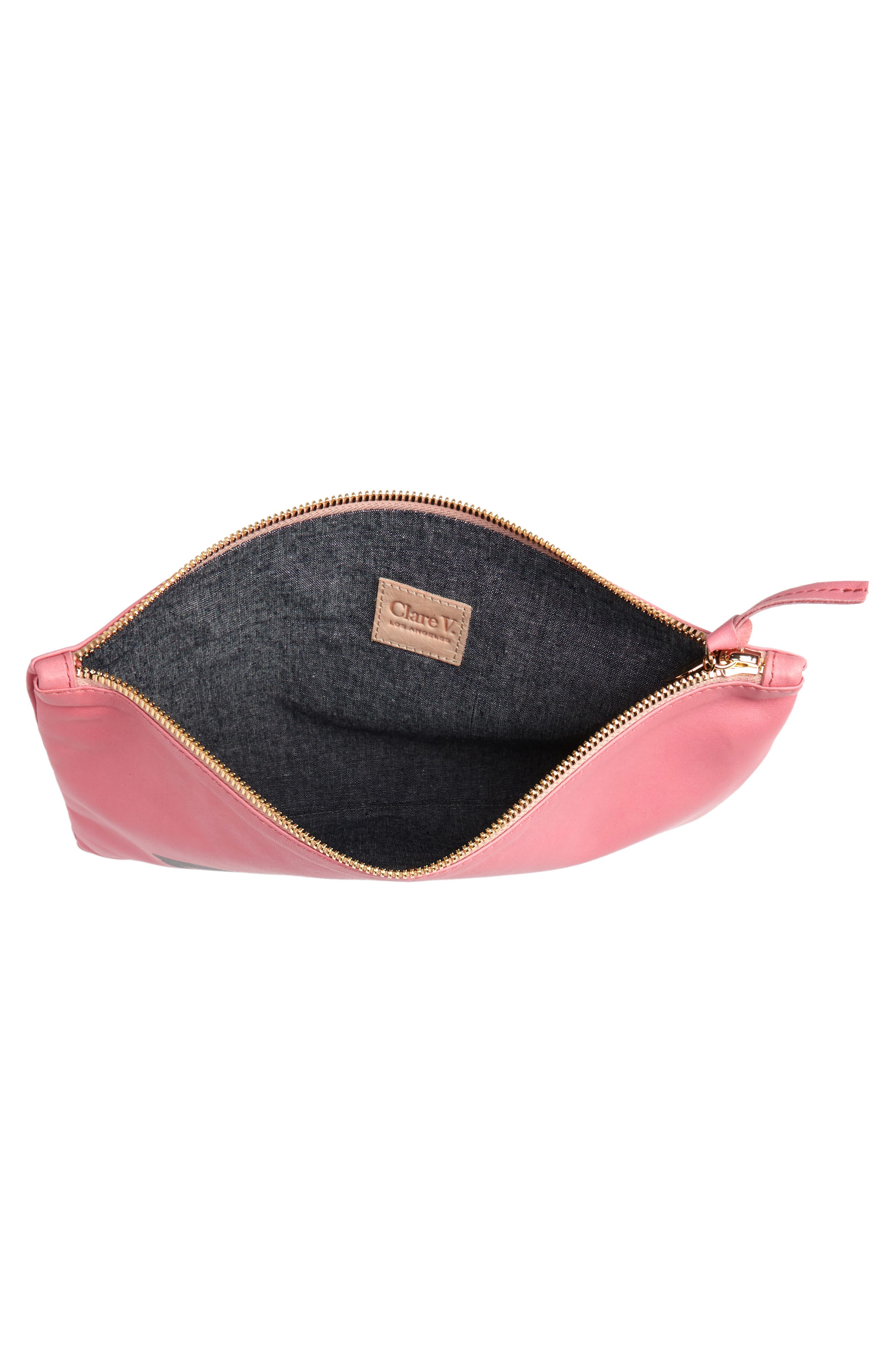 Eyes Leather Clutch,                             Alternate thumbnail 4, color,                             650