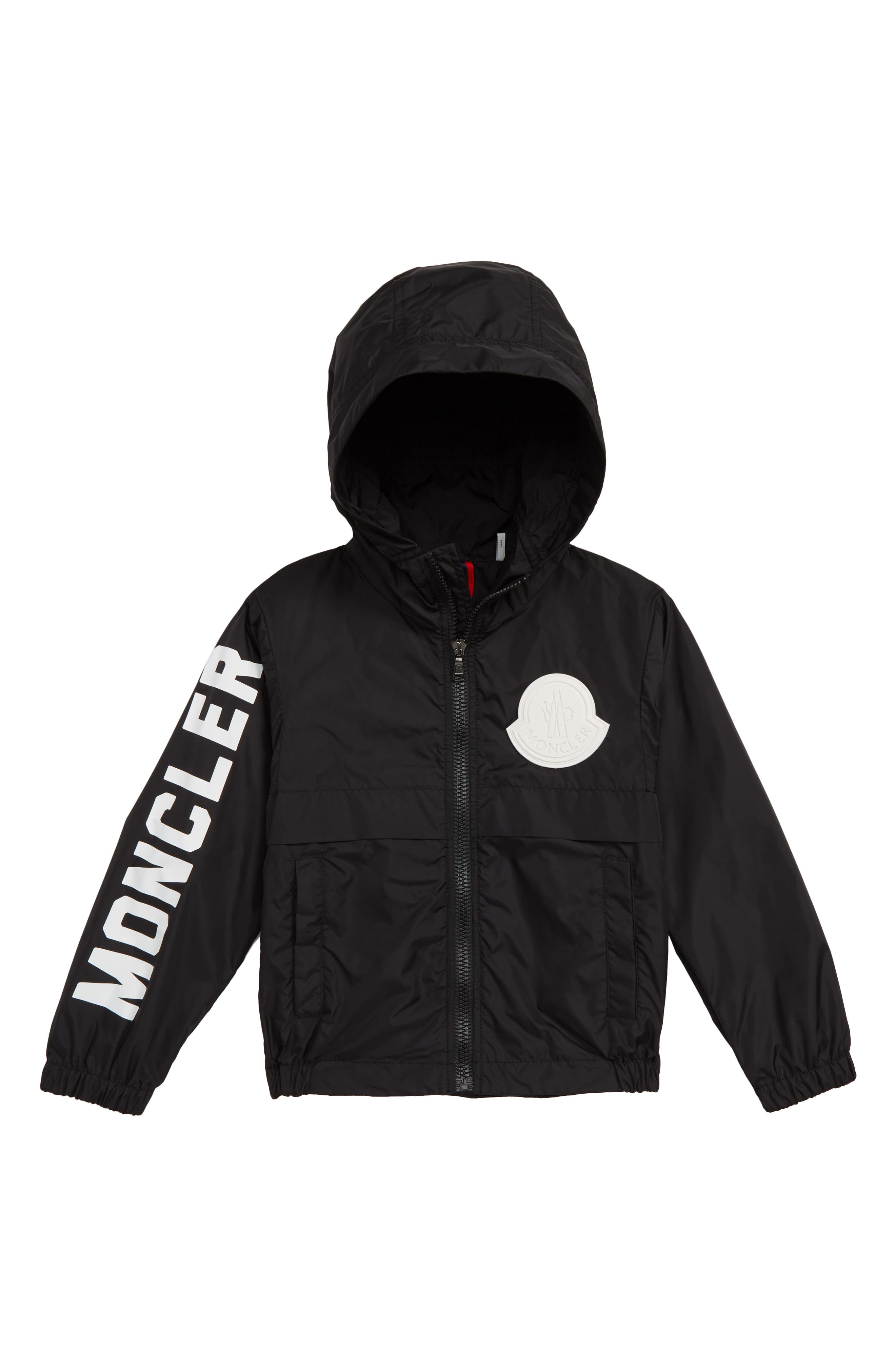 MONCLER,                             Saxophone Hooded Jacket,                             Main thumbnail 1, color,                             BLACK
