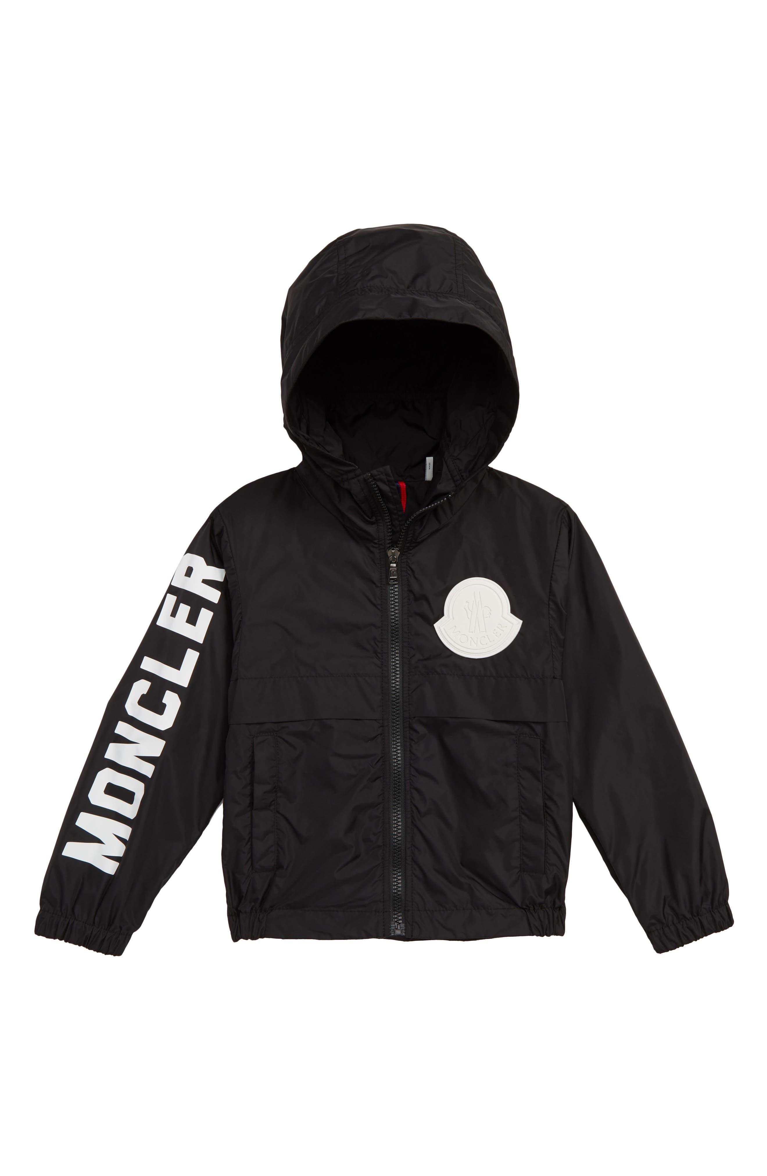 MONCLER Saxophone Hooded Jacket, Main, color, BLACK