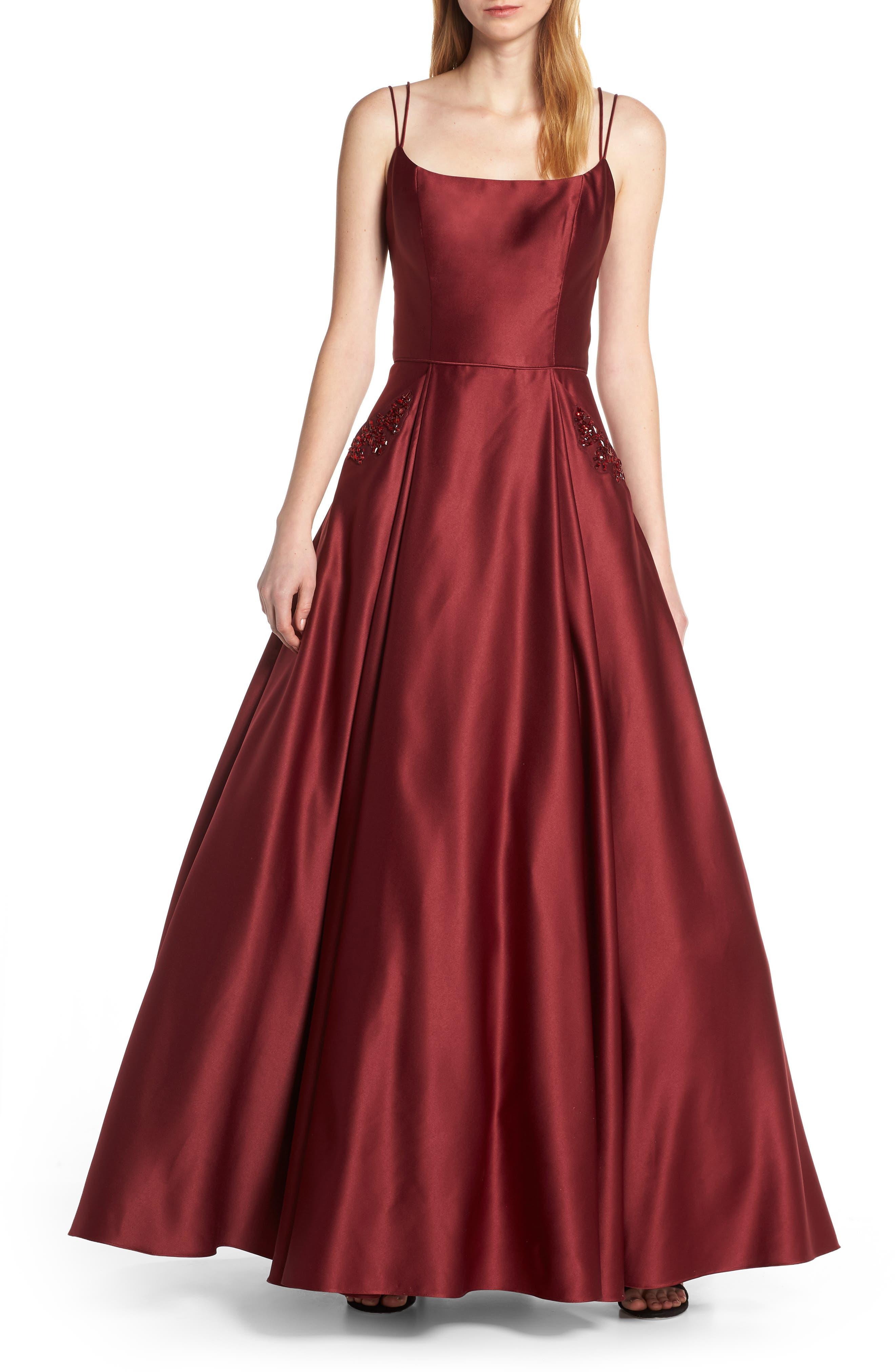 Blondie Nites Square Neck Embellished Pocket Satin Evening Dress, Burgundy