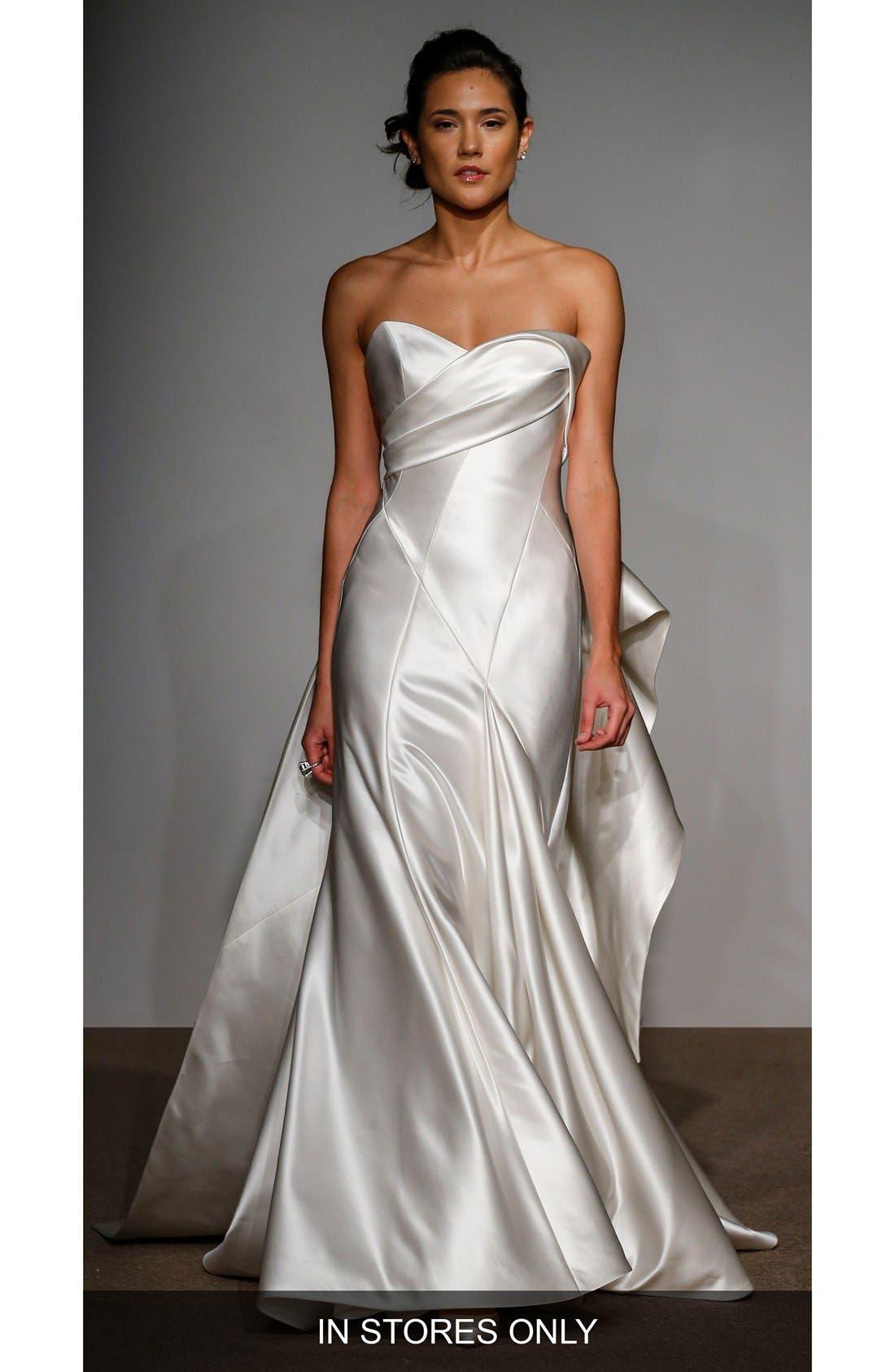 Penelope Strapless Silk Duchess Satin Gown,                             Main thumbnail 1, color,                             900
