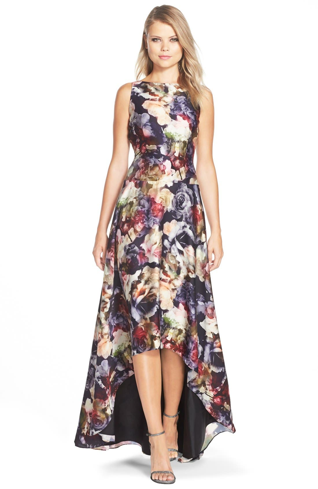 ADRIANNA PAPELL,                             Floral Print Charmeuse Fit & Flare Gown,                             Main thumbnail 1, color,                             643