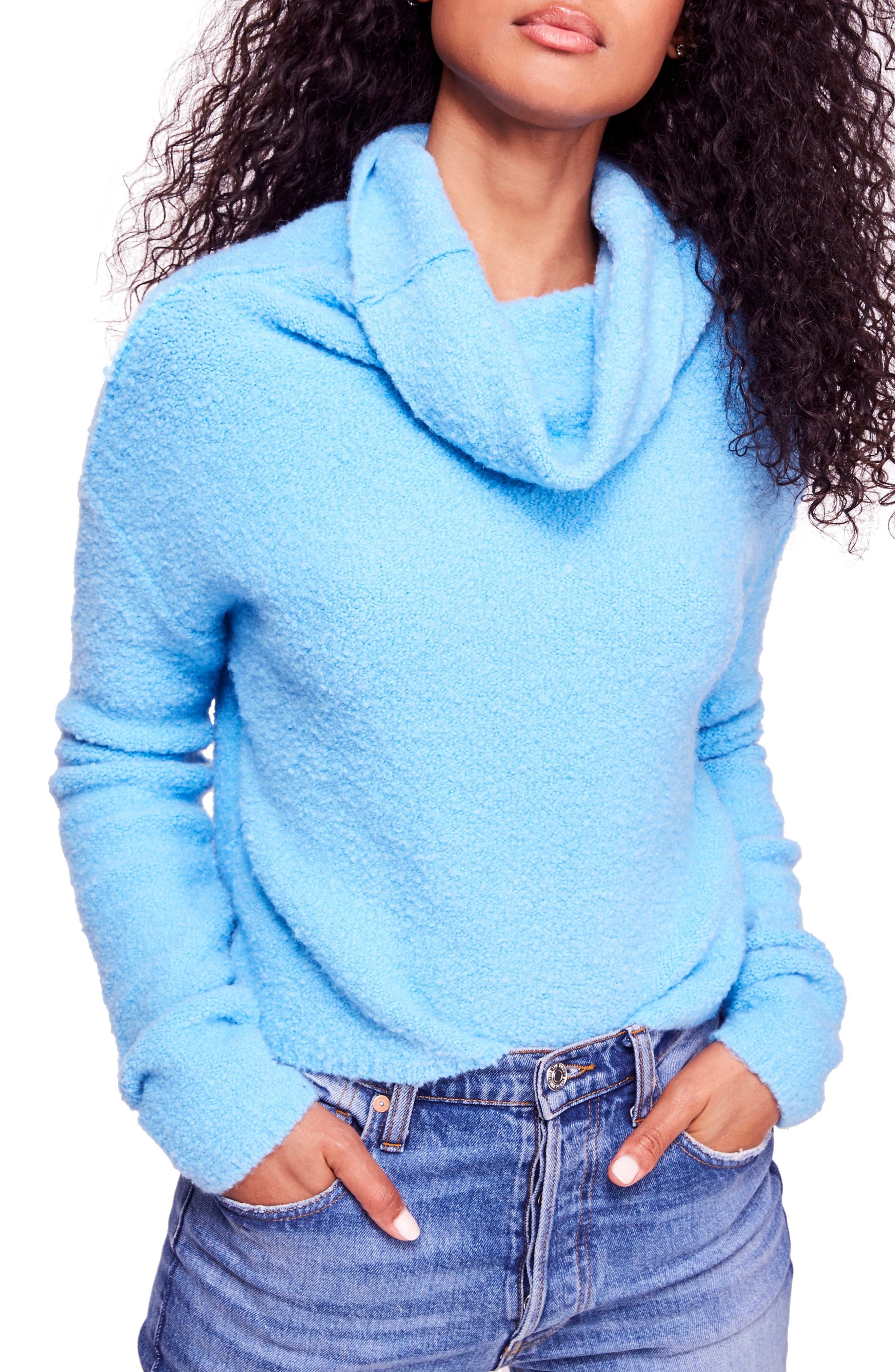 Stormy Cowl Neck Sweater, Main, color, BLUE