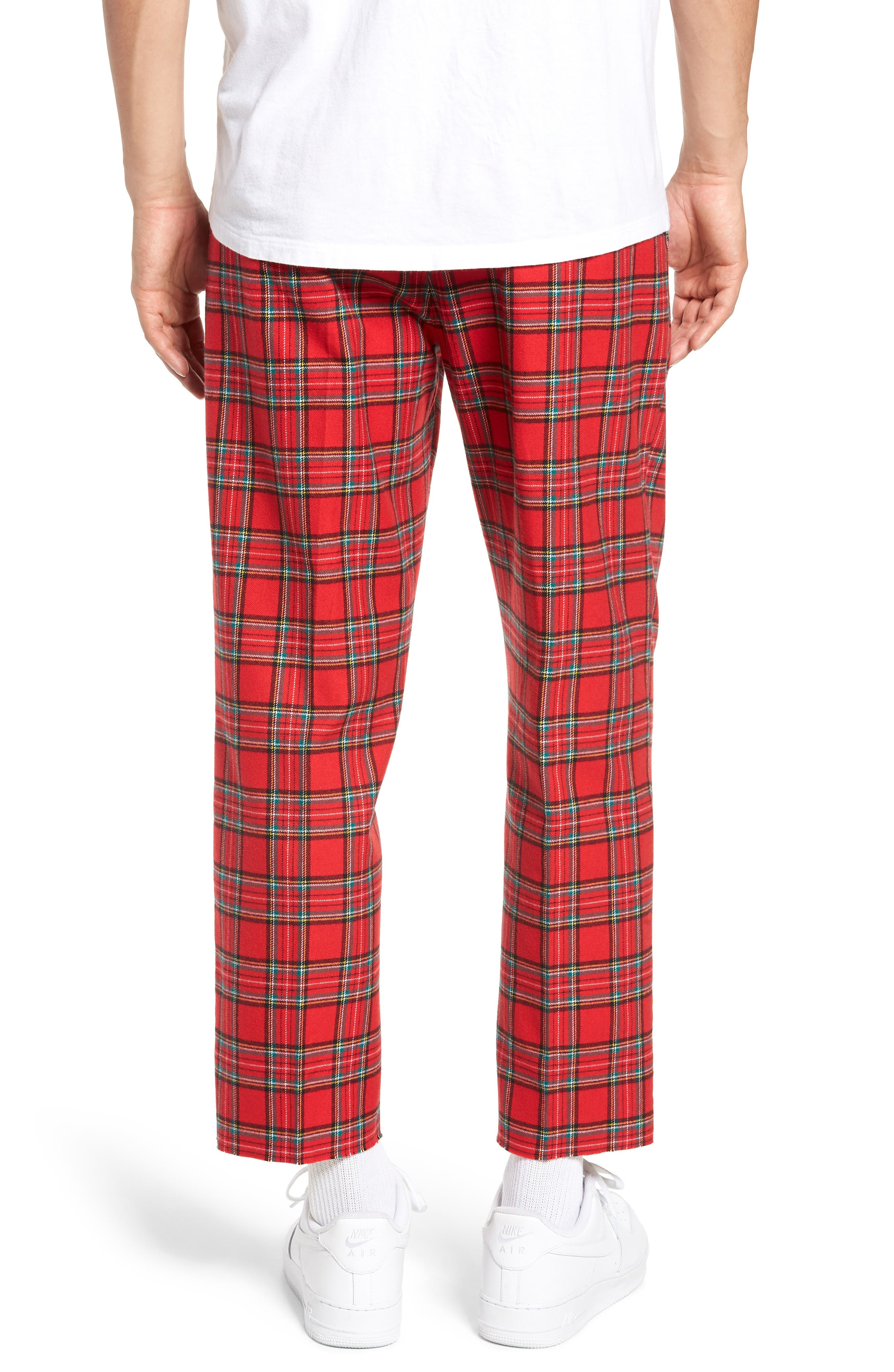 Pleated Plaid Crop Pants,                             Alternate thumbnail 2, color,                             GREY CHARCOAL GLENN PLAID