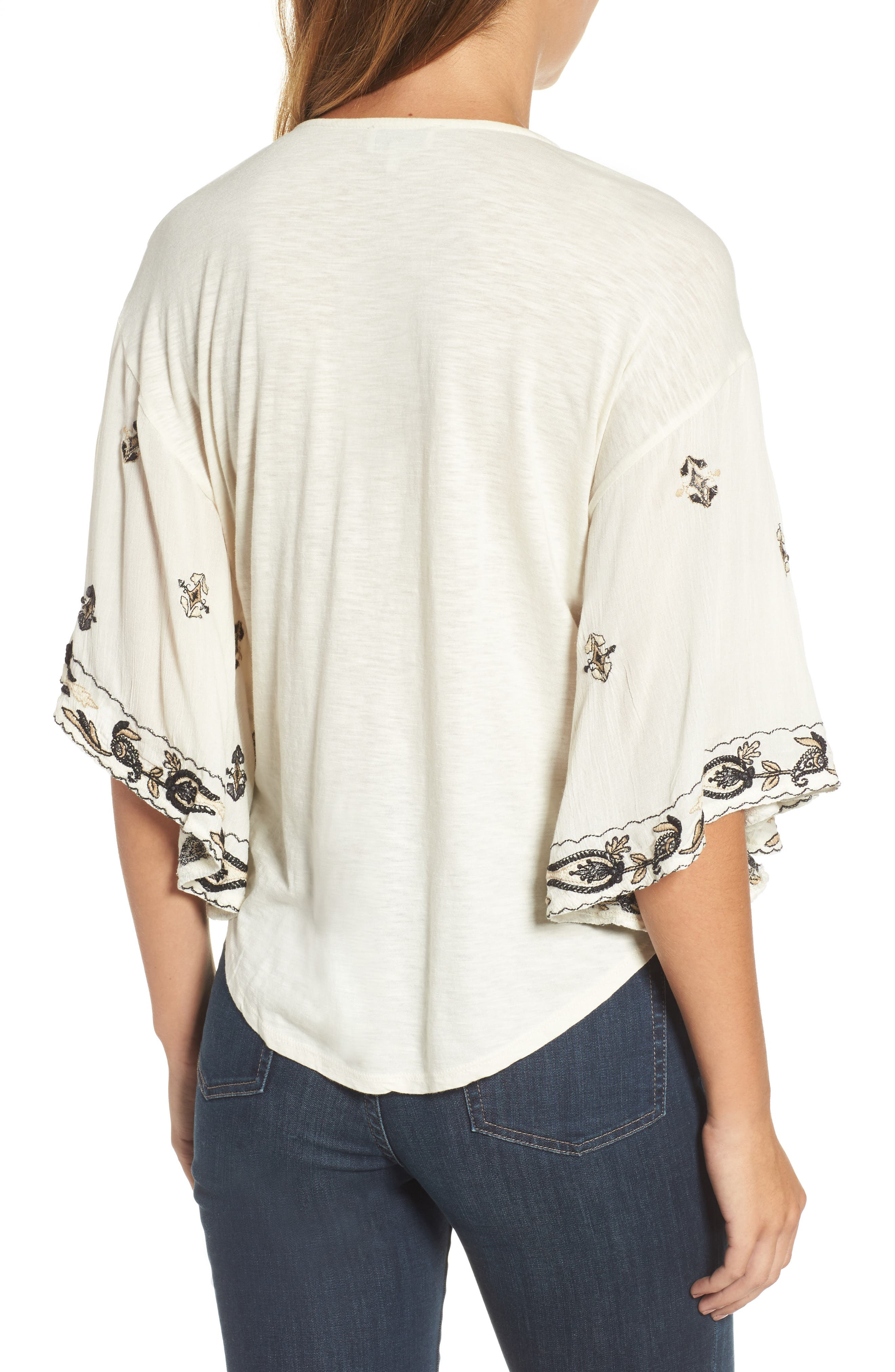 Embroidered Lace Up Peasant Top,                             Alternate thumbnail 4, color,
