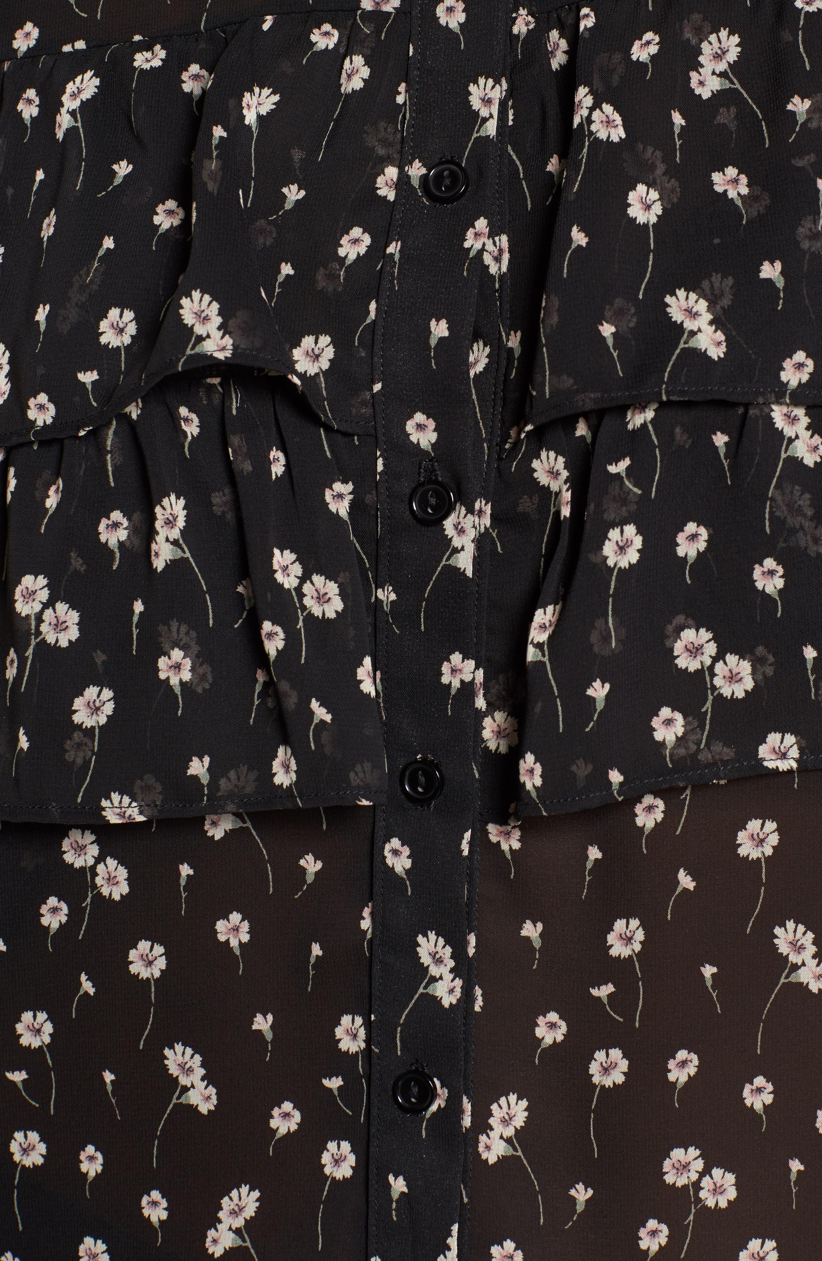 Leona Floral Print Ruffle Top,                             Alternate thumbnail 5, color,