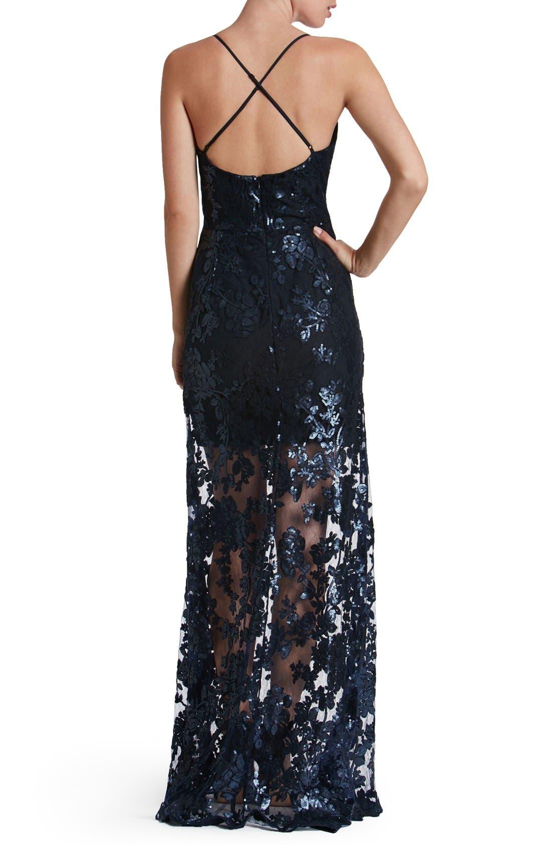 'Vivienne' Sequin Lace Gown,                             Alternate thumbnail 5, color,