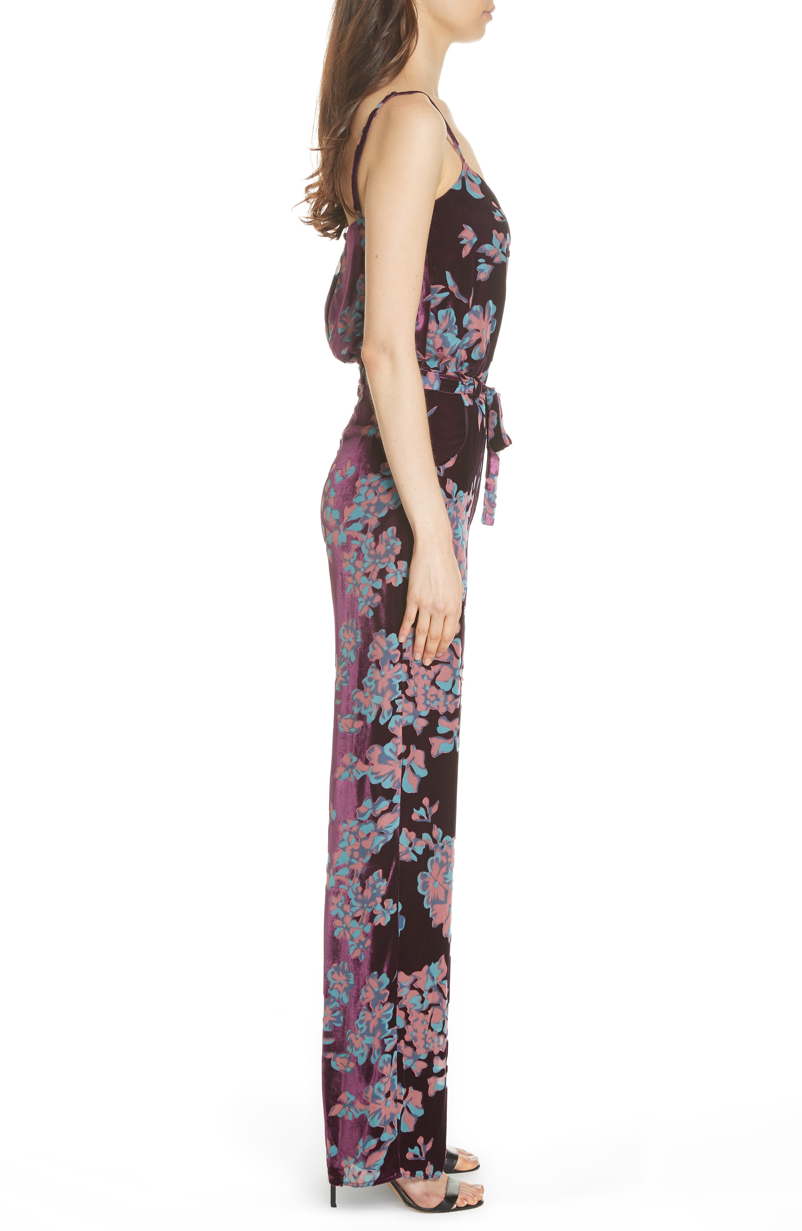 Loretta Floral & Stripe Print Jumpsuit,                             Alternate thumbnail 3, color,                             PLUM INSIGNIA 689