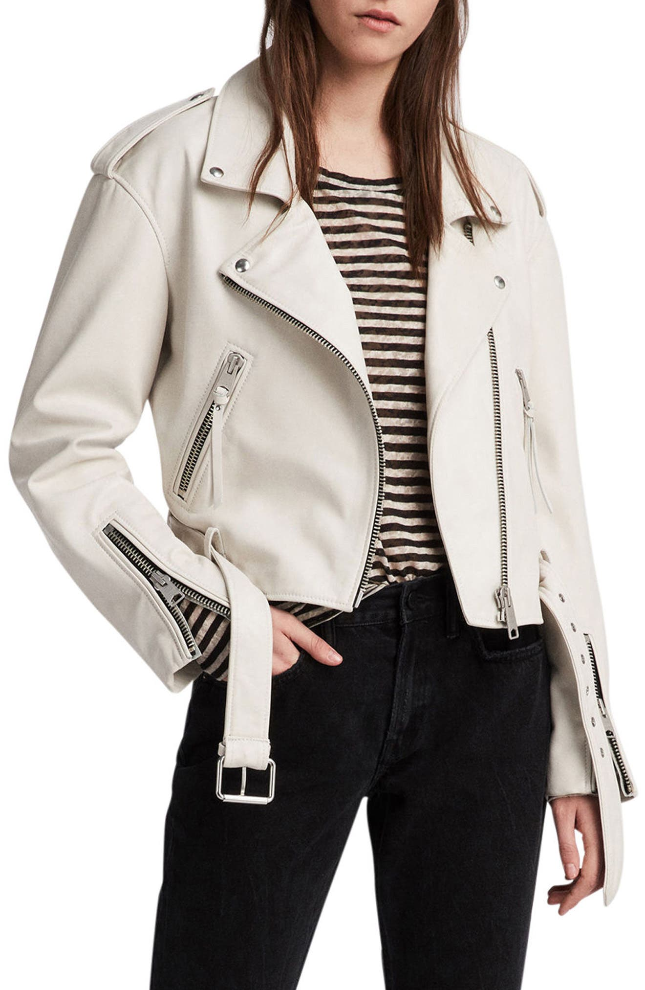 Anderson Sheepskin Leather Biker Jacket,                         Main,                         color, 100