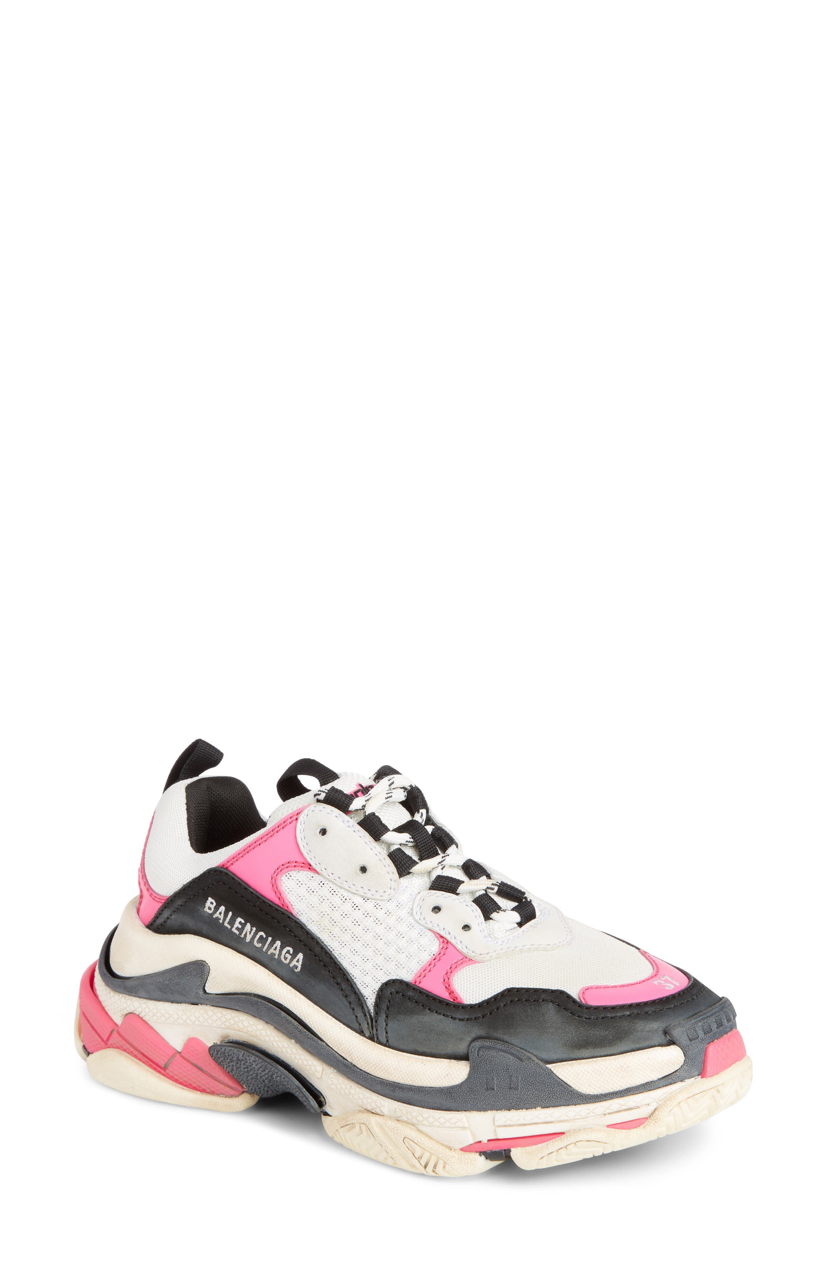Triple S Low Top Sneaker,                             Main thumbnail 1, color,                             ROSE FLUO/ BLACK/ WHITE