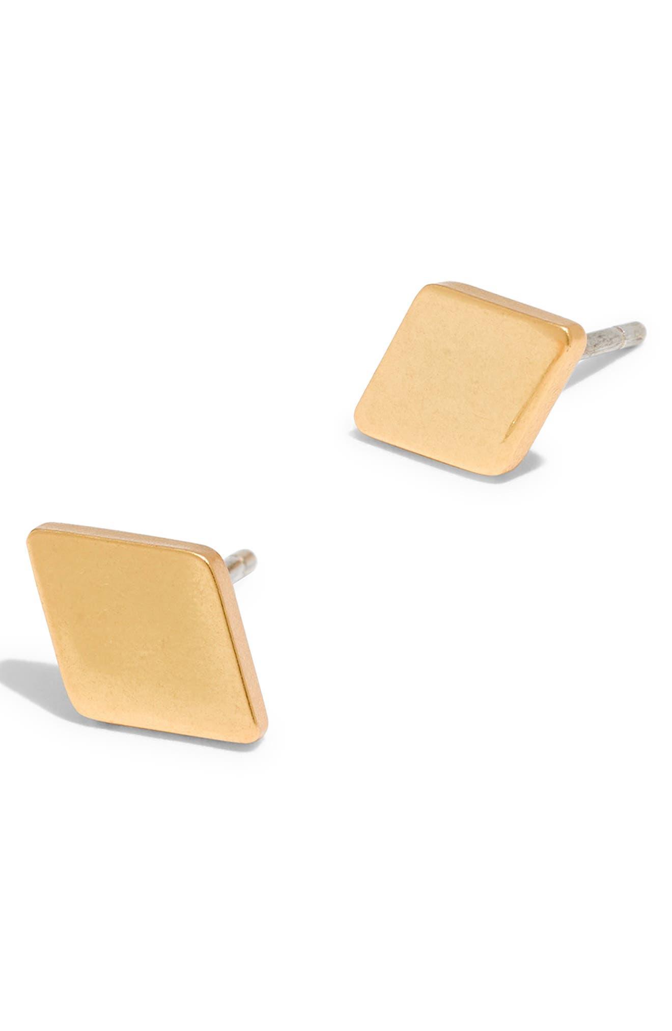 Diamond-Shaped Stud Earrings,                             Main thumbnail 1, color,                             VINTAGE GOLD