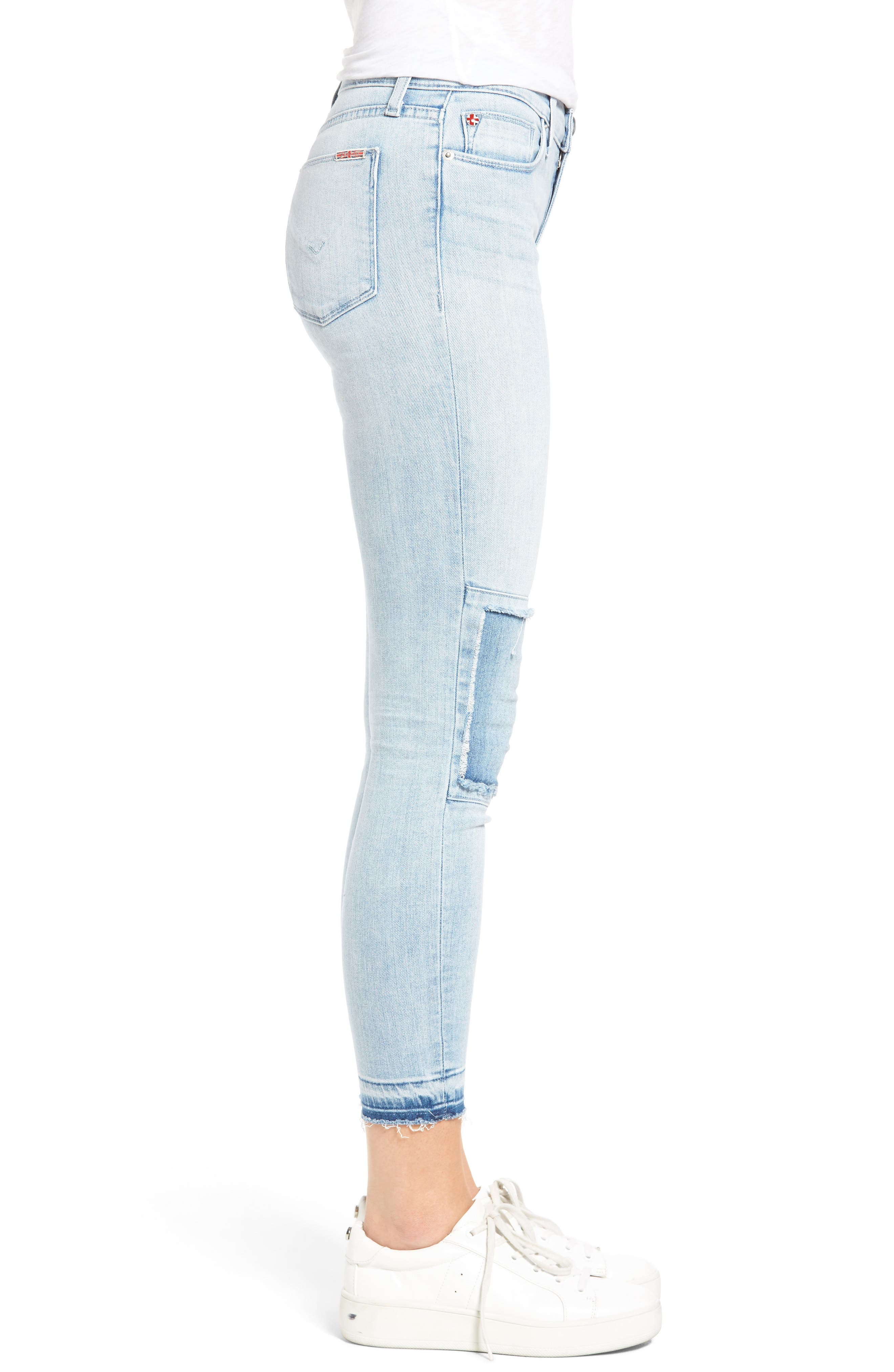 Szzi Mid Rise Patched Skinny Jeans,                             Alternate thumbnail 3, color,                             455