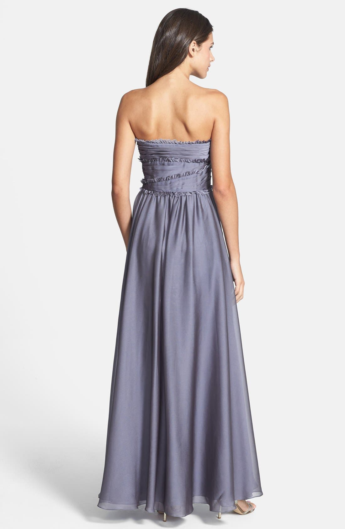ML Monique Lhuillier Bridesmaids Strapless Chiffon Gown,                             Alternate thumbnail 35, color,