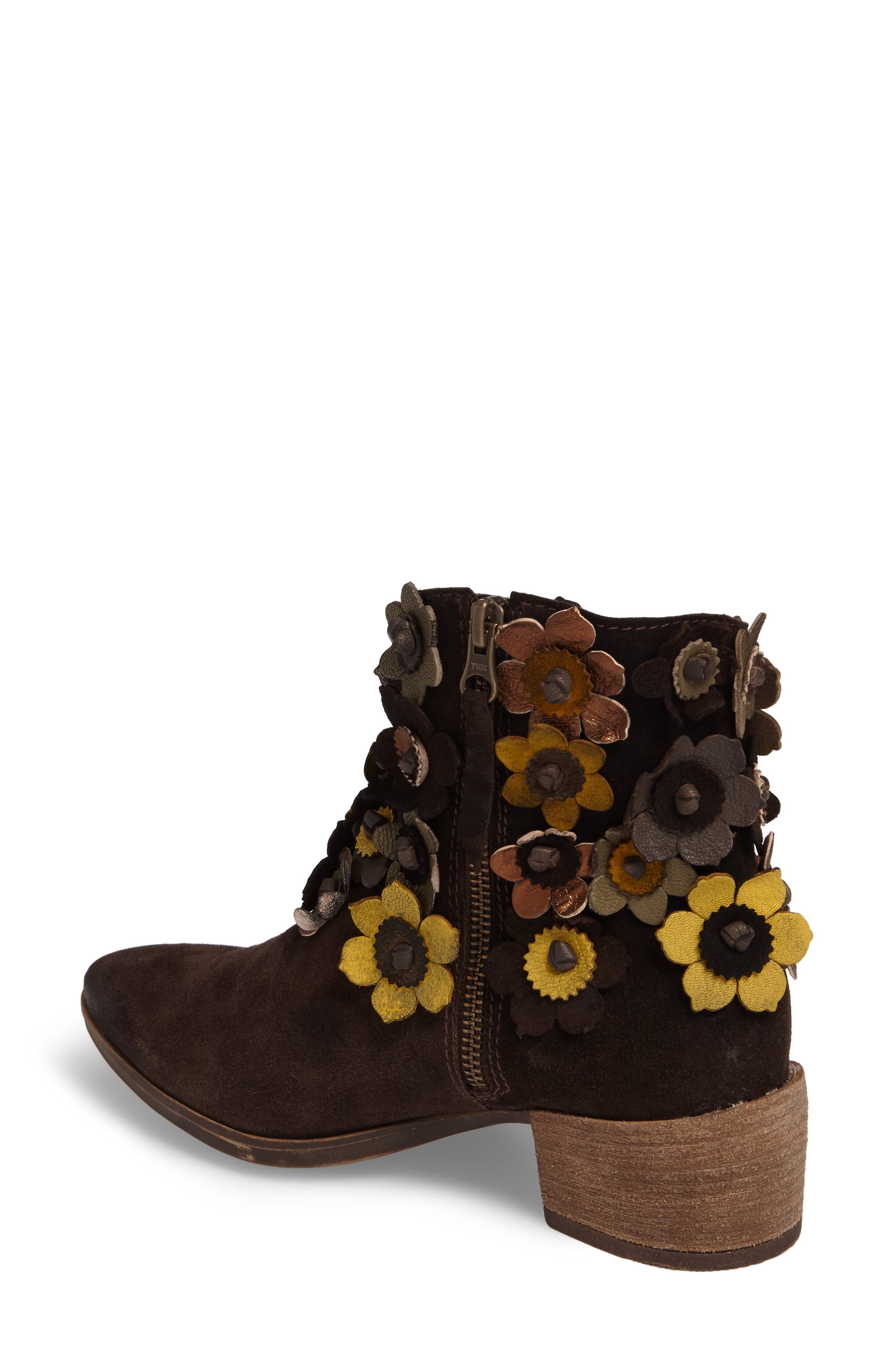 Sunflower Embellished Bootie,                             Alternate thumbnail 2, color,                             BROWN SUEDE