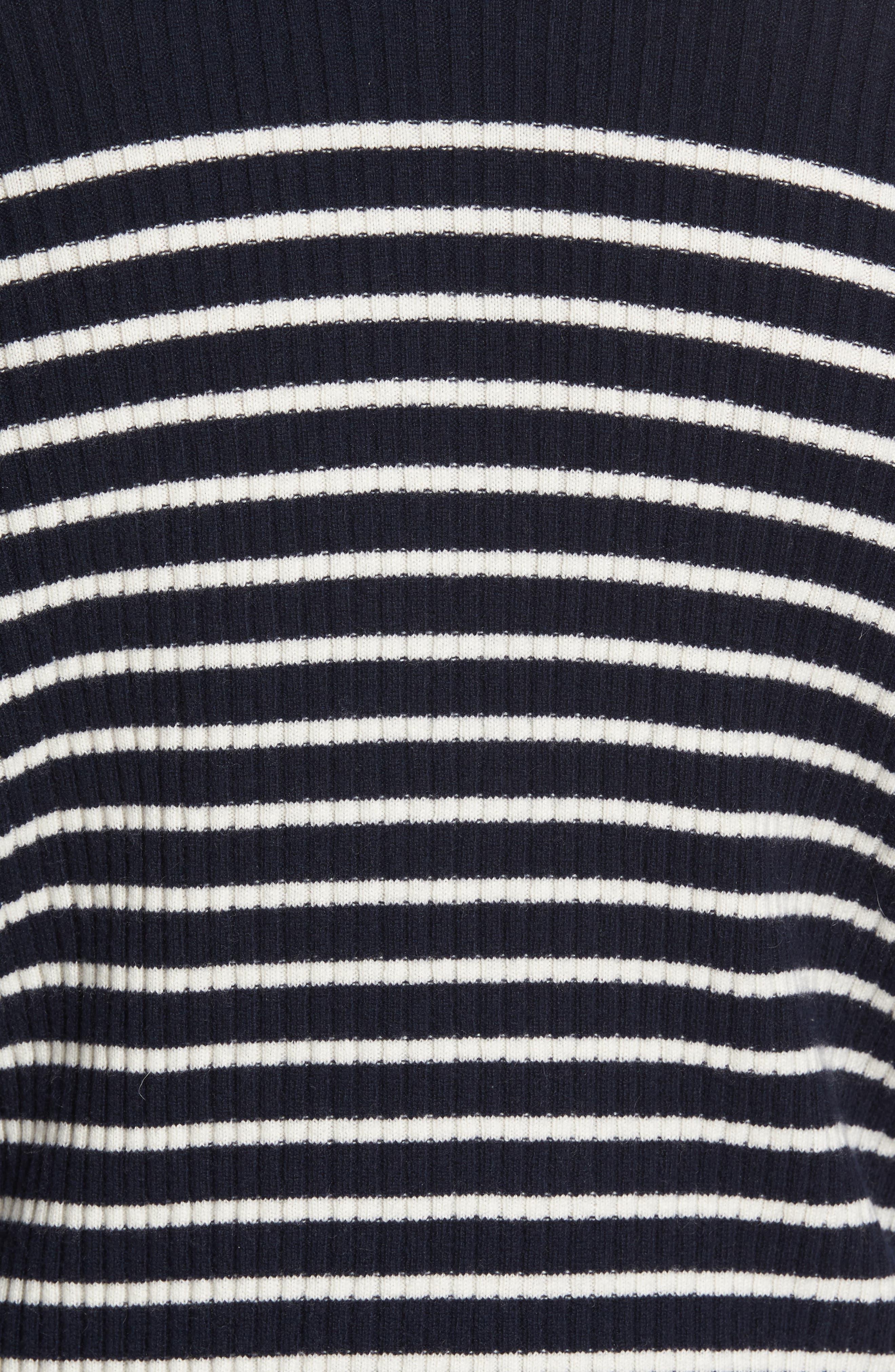 Regular Fit Breton Stripe Cashmere Turtleneck Sweater,                             Alternate thumbnail 10, color,