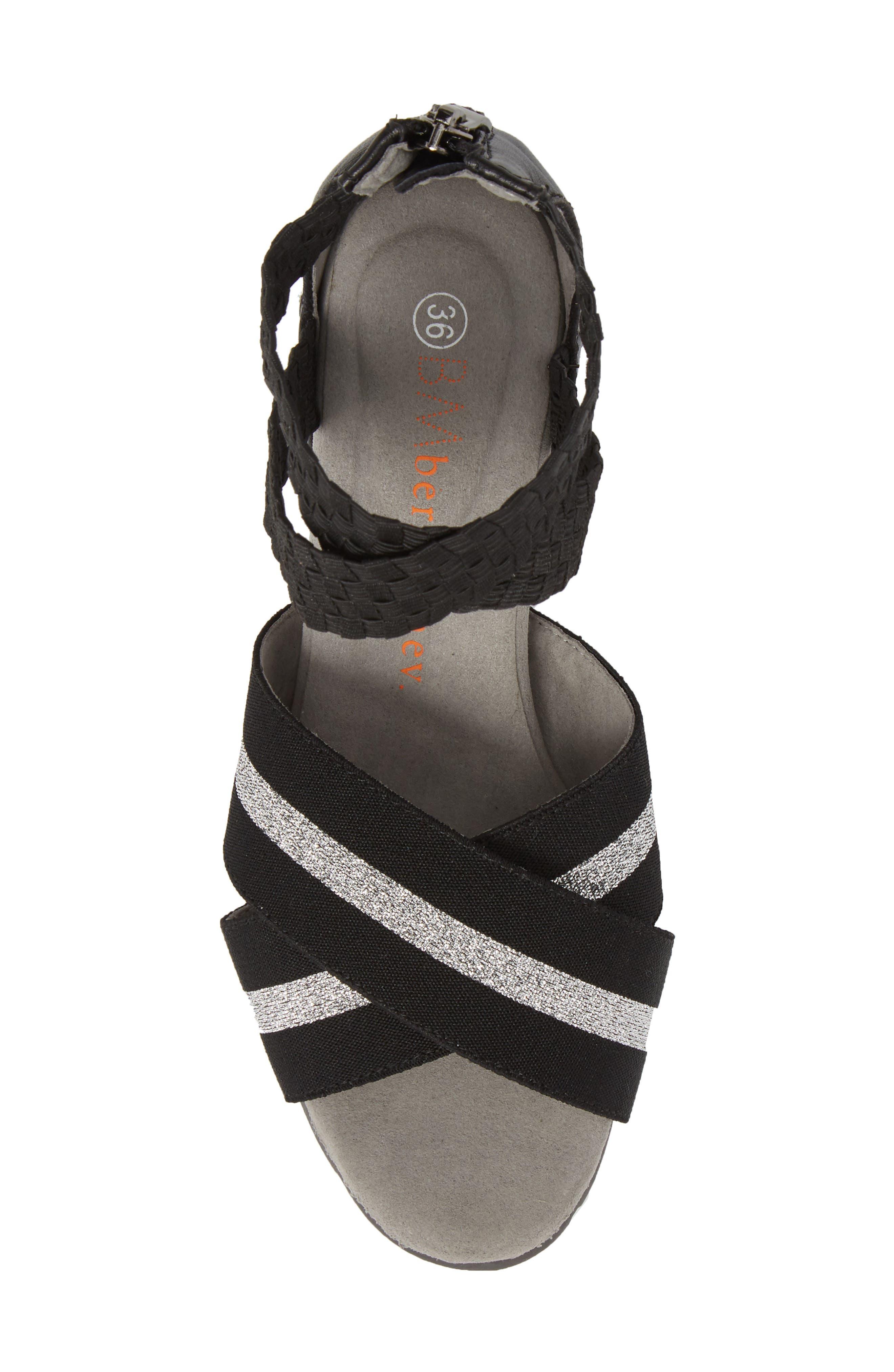 Maldives Wedge Sandal,                             Alternate thumbnail 5, color,                             BLACK FABRIC