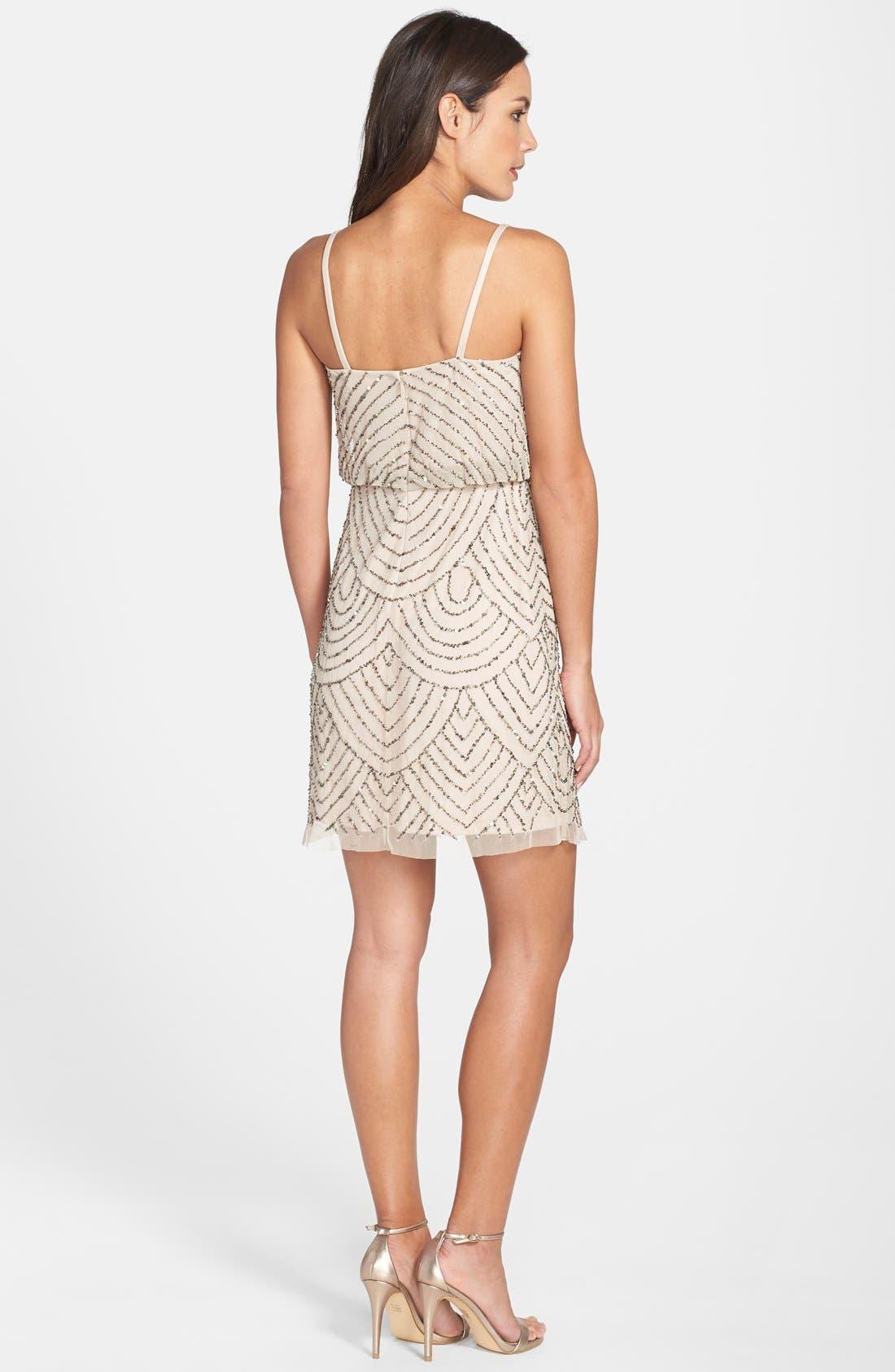 Sequin Mesh Blouson Dress,                             Alternate thumbnail 6, color,                             257