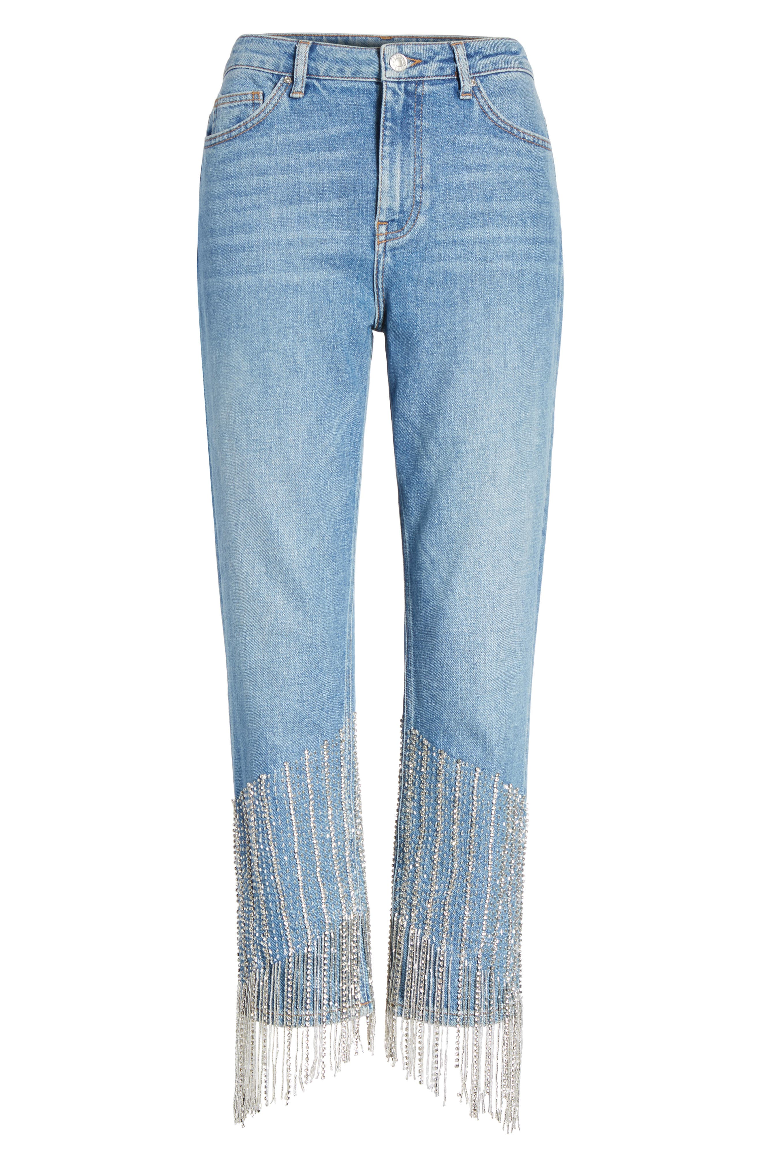 Crystal Embellished Moto Jeans,                             Alternate thumbnail 6, color,                             400
