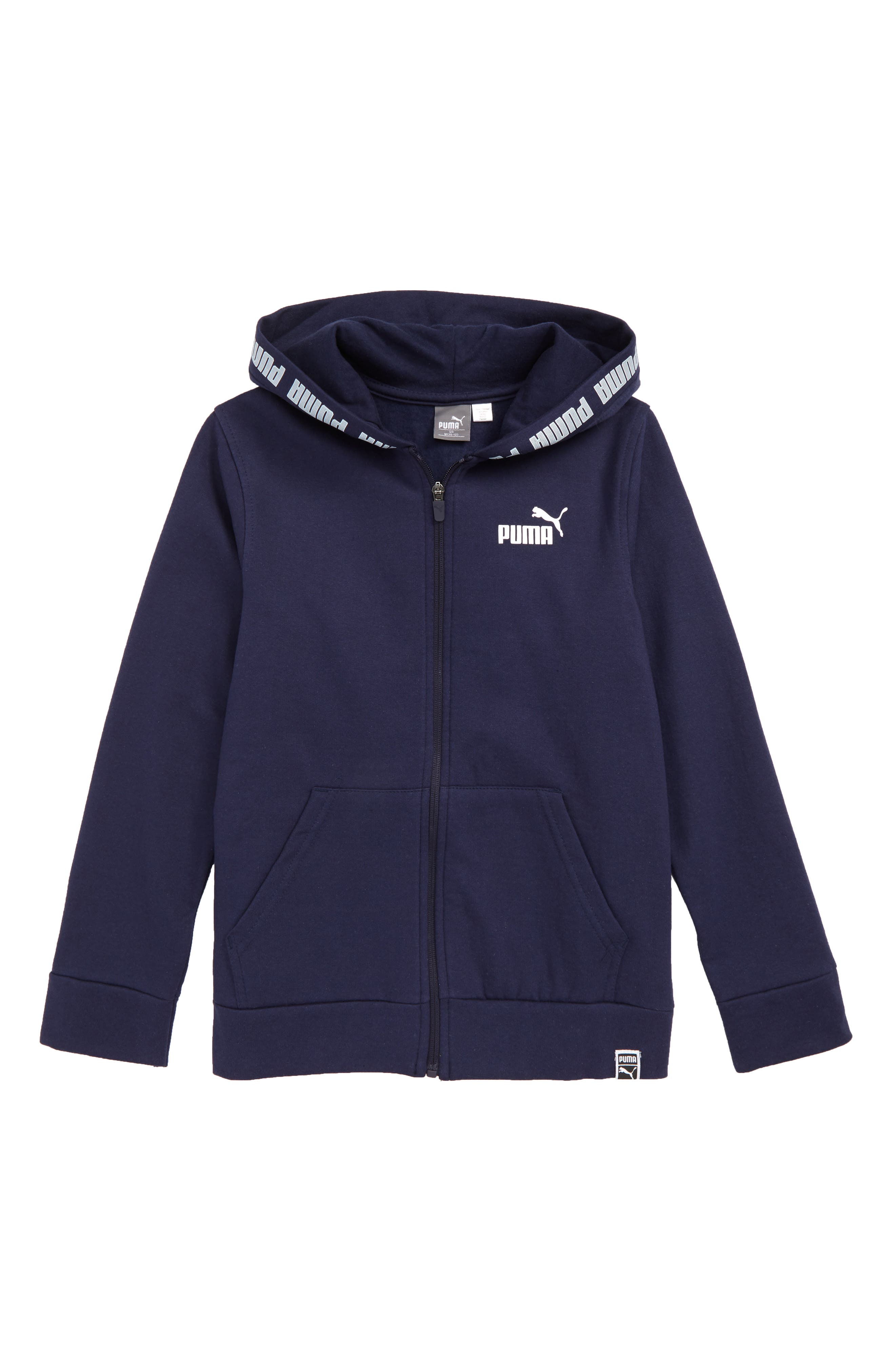 PUMA Fleece Zip Hoodie, Main, color, PEACOAT