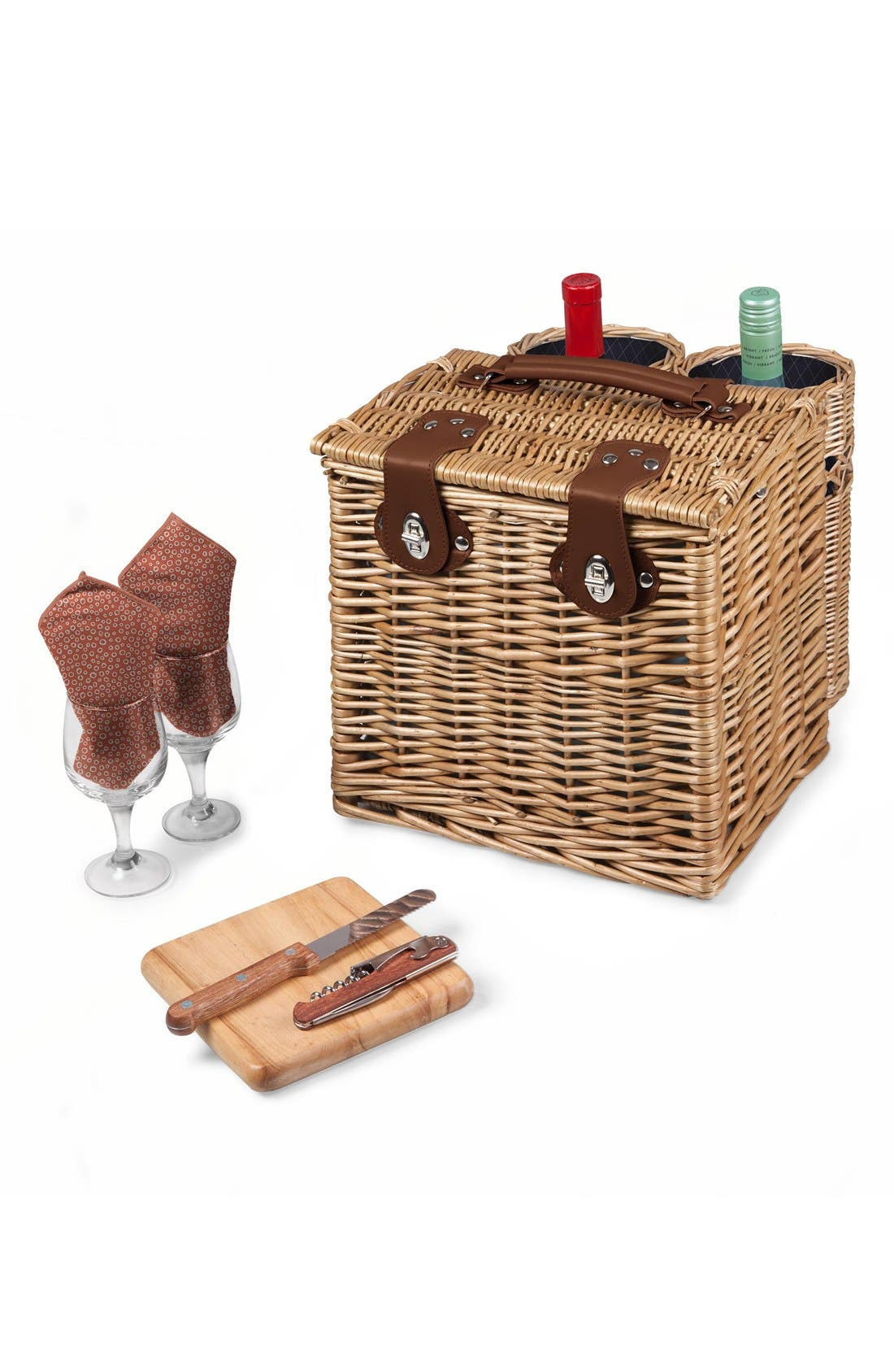 'Vino' Wine & Cheese Picnic Basket,                             Alternate thumbnail 3, color,                             400
