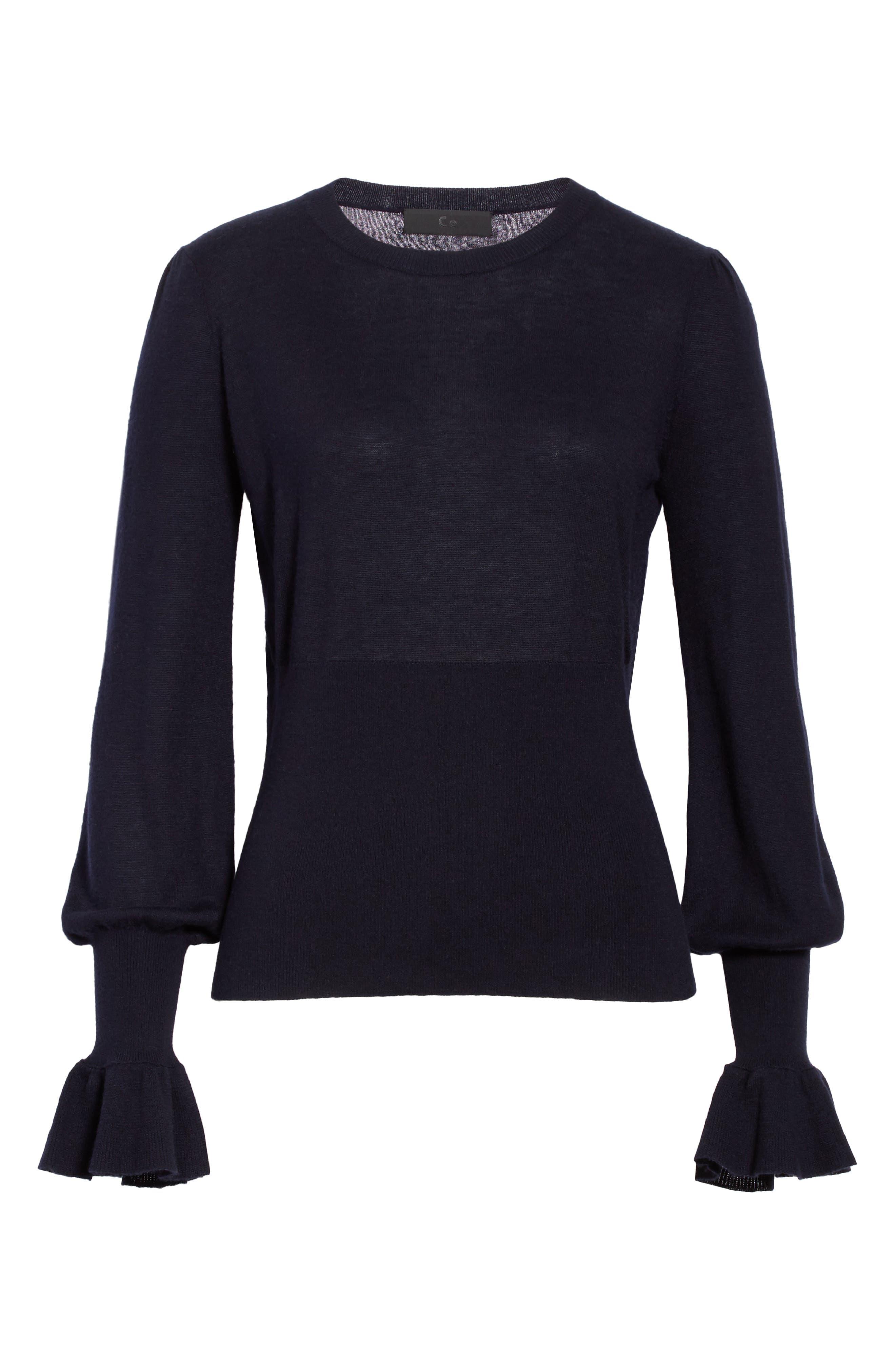 Ruffle Sleeve Silk & Cashmere Sweater,                             Alternate thumbnail 6, color,                             410