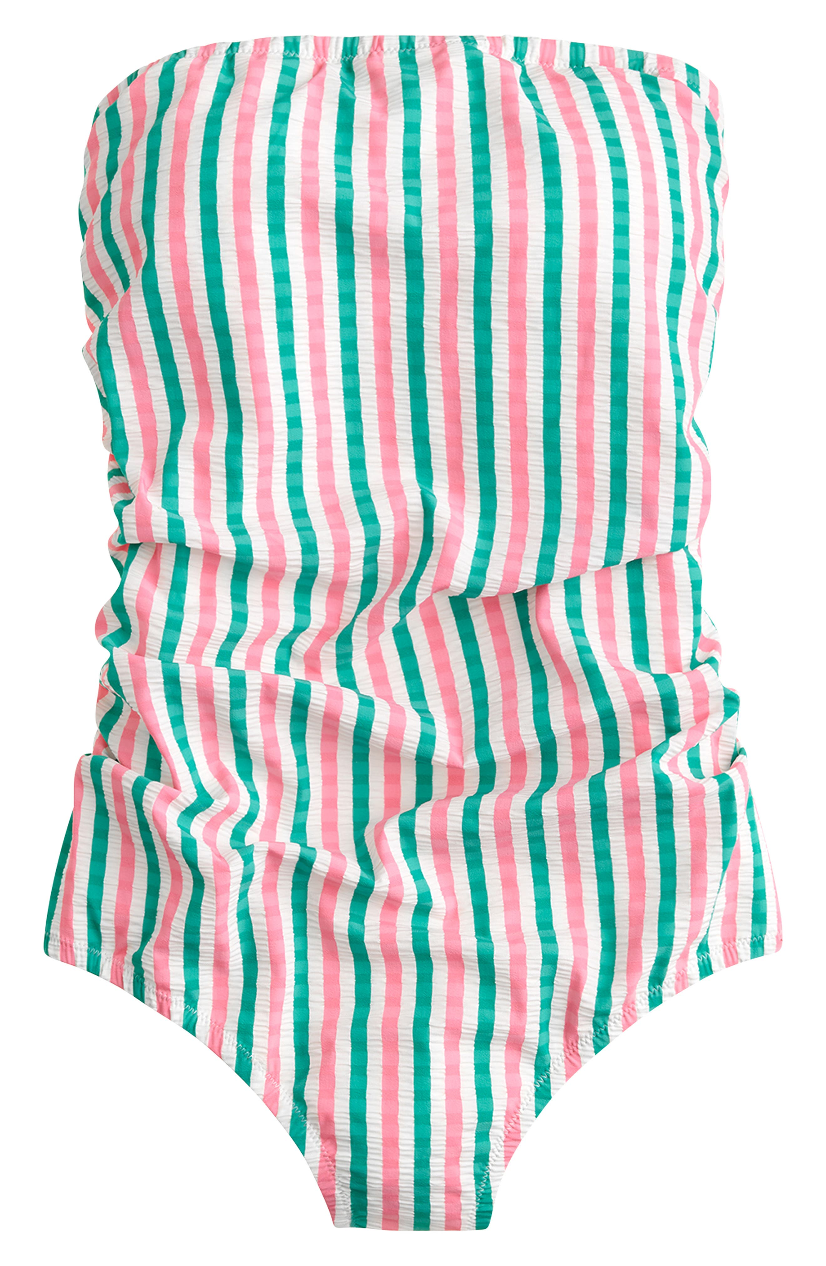 J.CREW,                             Puckered Stripe Ruched Bandeau One-Piece Swimsuit,                             Main thumbnail 1, color,                             PINK GREEN STRIPE