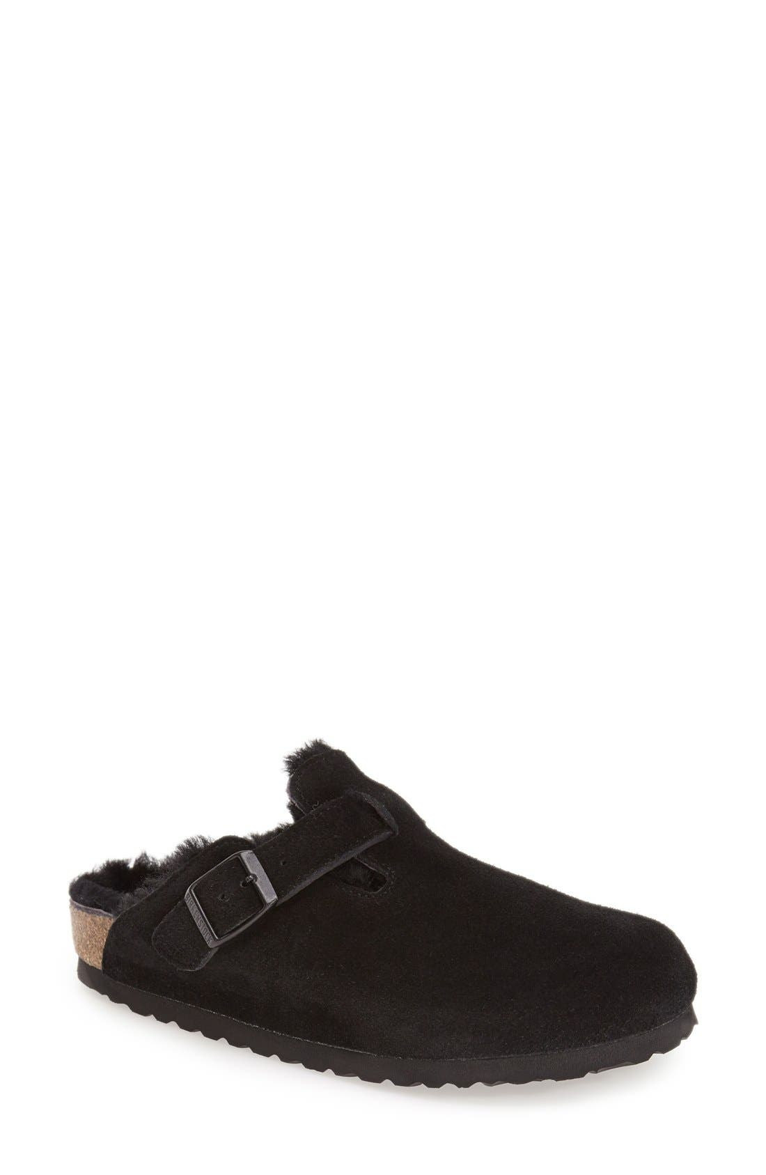 BIRKENSTOCK,                             'Boston' Genuine Shearling Lined Clog,                             Main thumbnail 1, color,                             BLACK