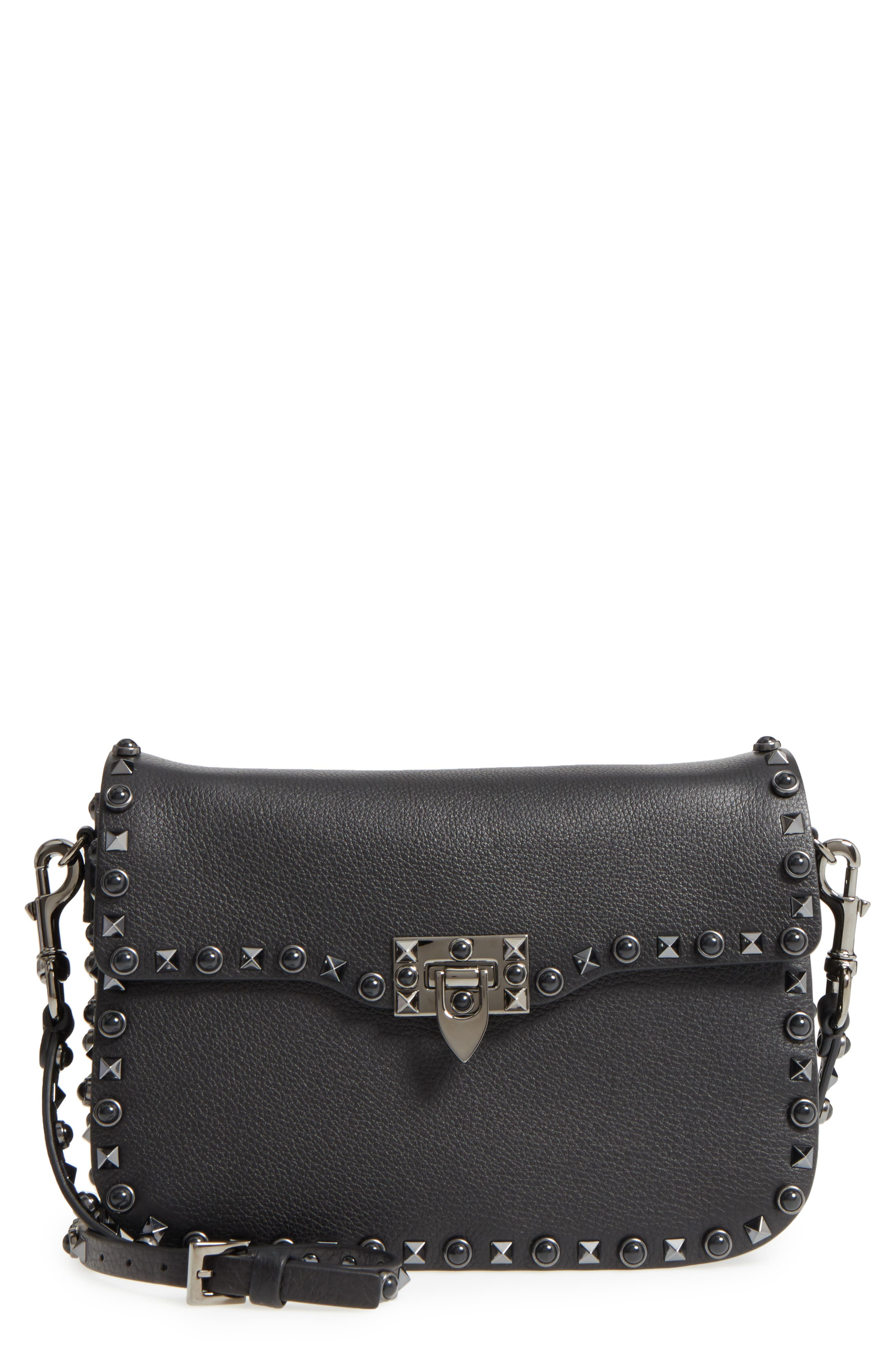 Rockstud Leather Shoulder Bag,                         Main,                         color, NERO