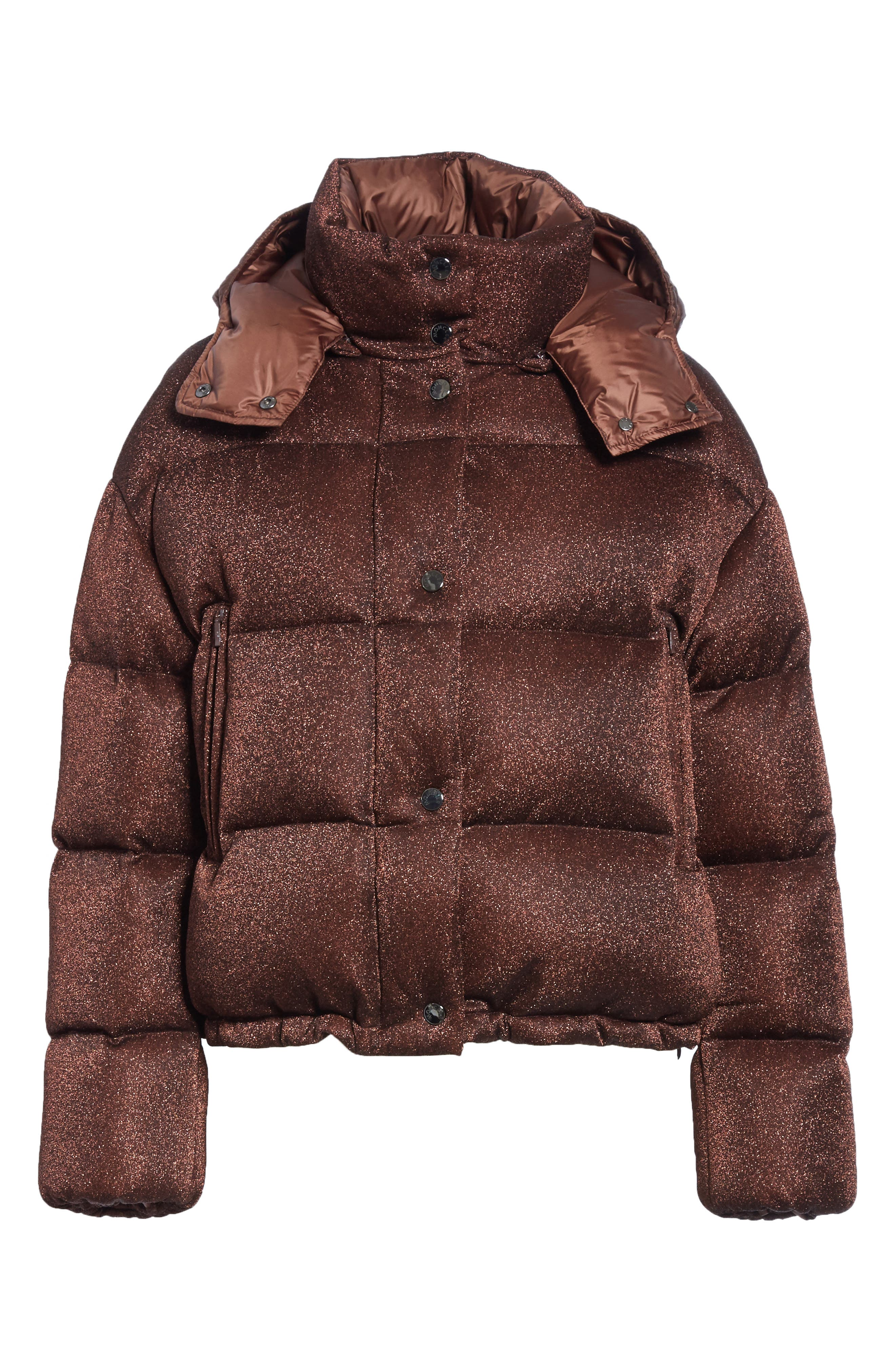Caille Metallic Quilted Down Jacket,                             Alternate thumbnail 6, color,                             BROWN LUREX