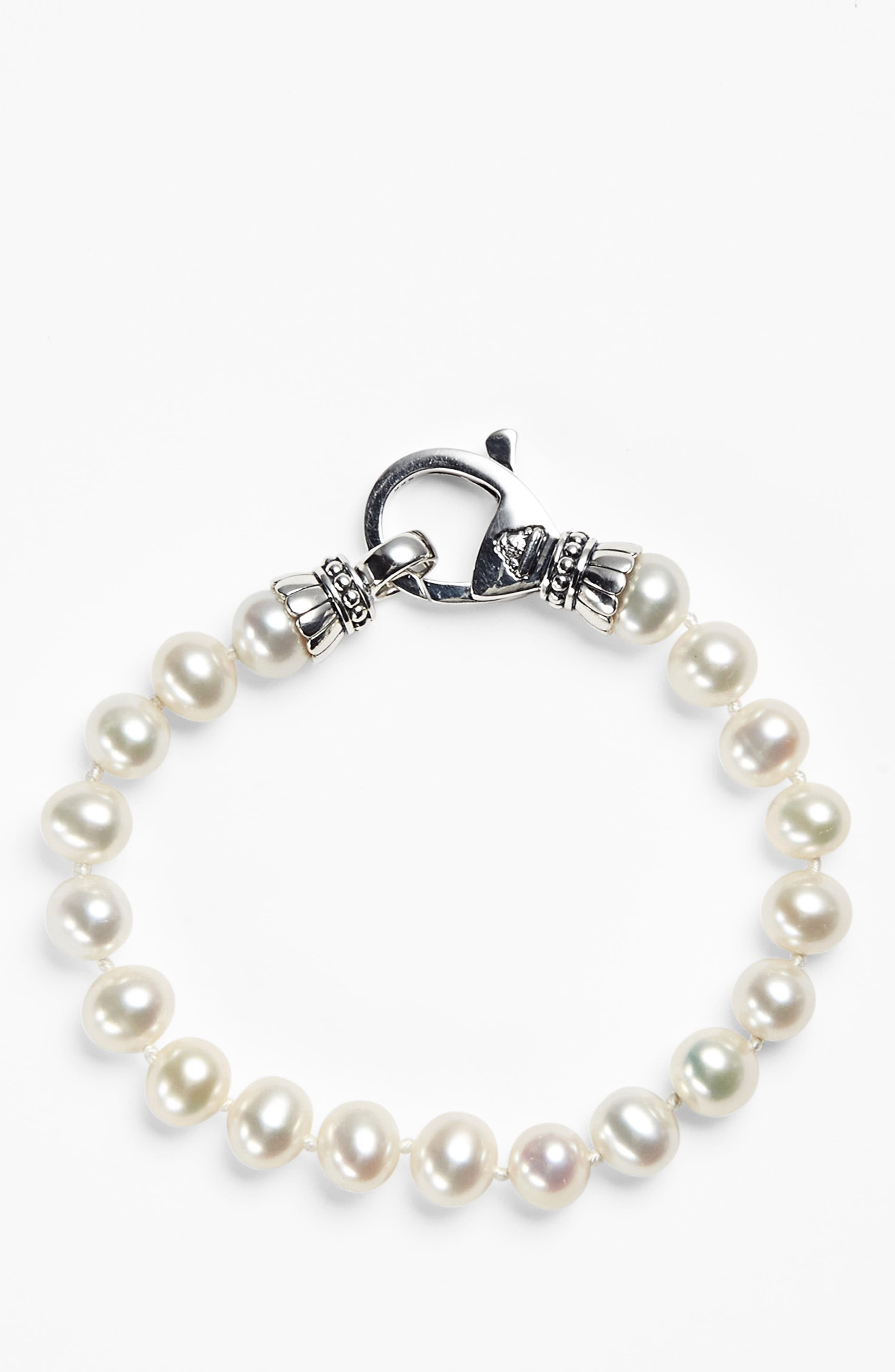 'Luna' 7.5mm Pearl Bracelet,                             Alternate thumbnail 5, color,                             SILVER/ PEARL