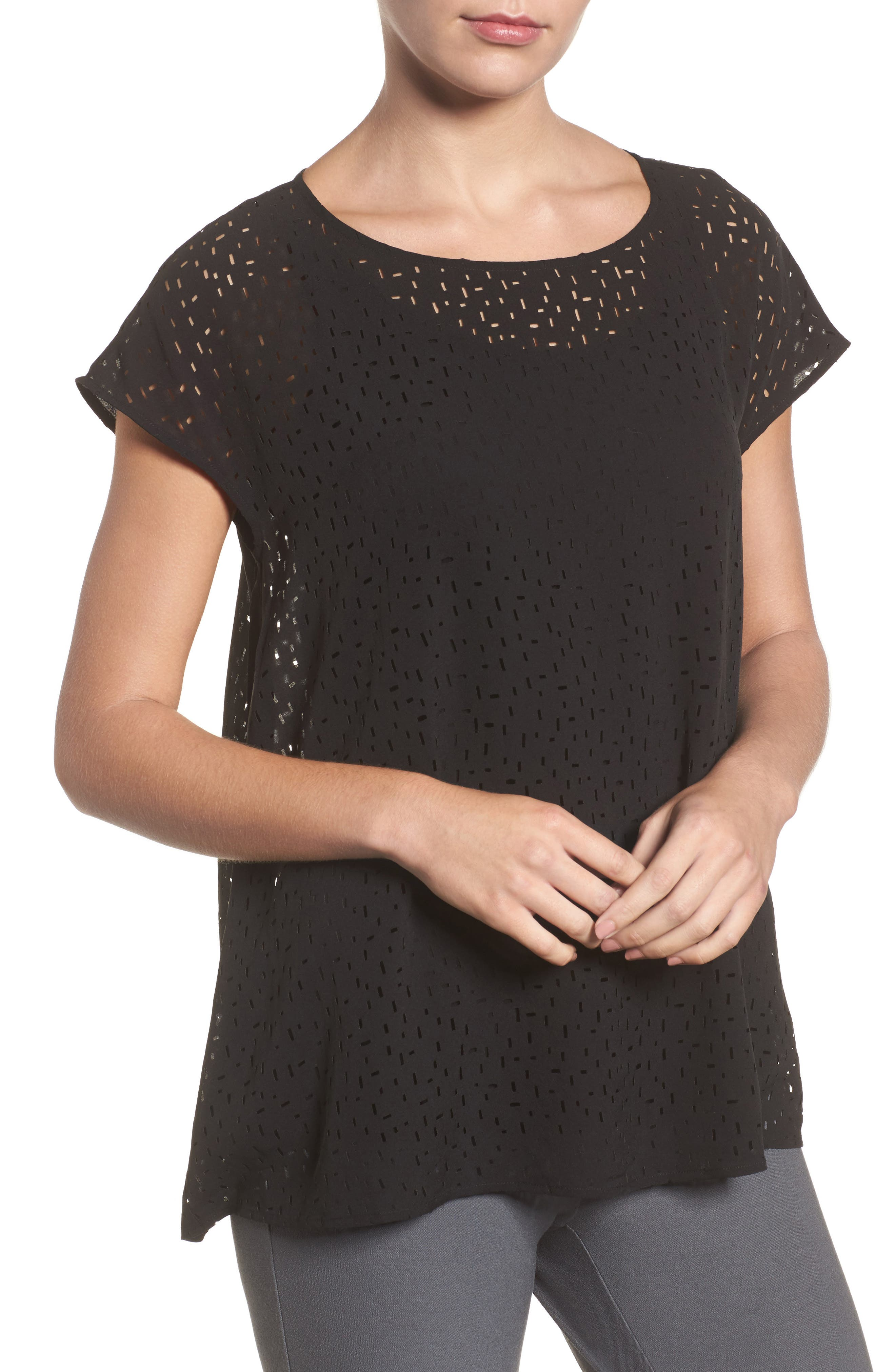 Cutwork Silk Top,                         Main,                         color,