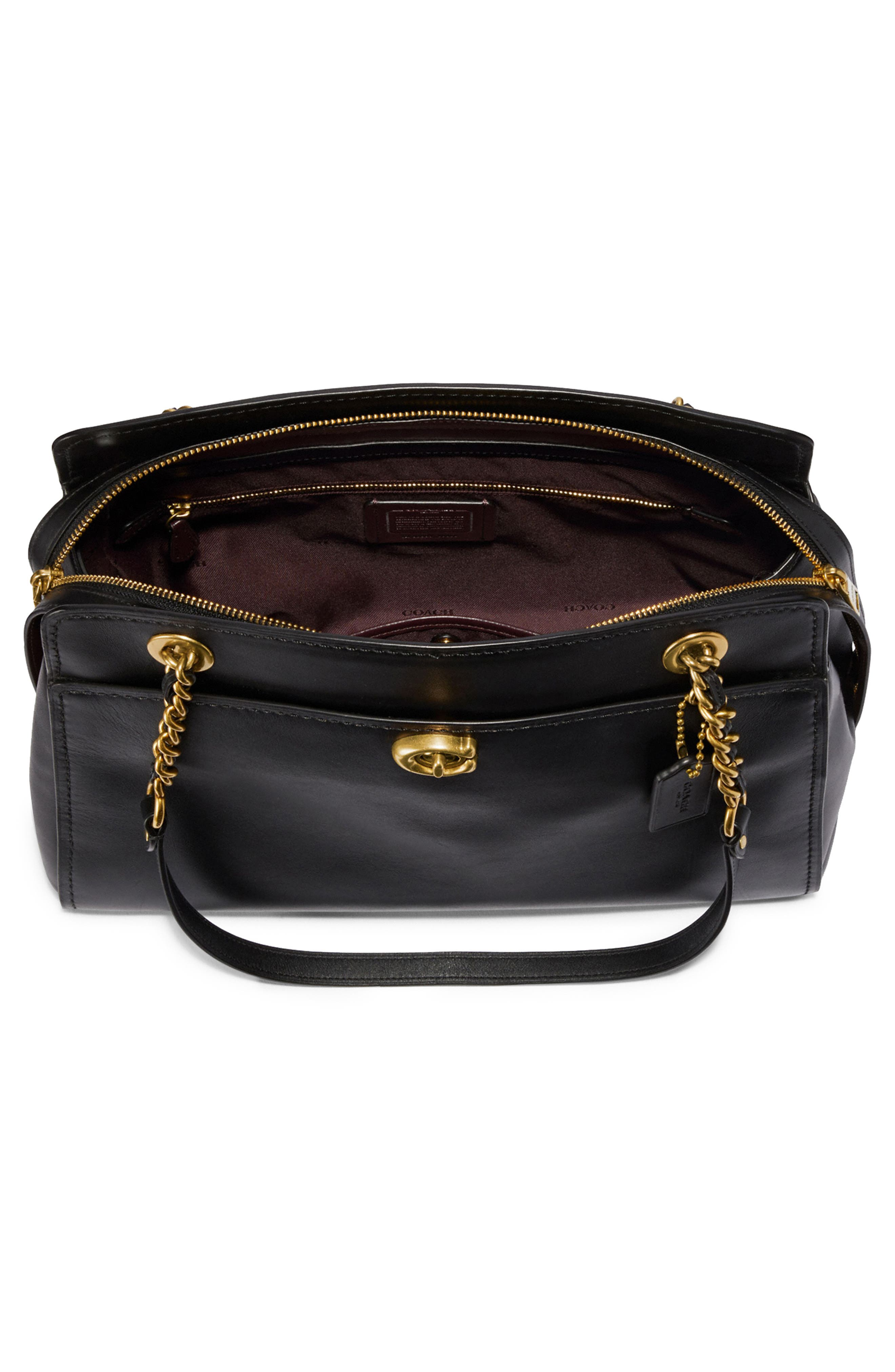 COACH,                             Parker Leather Shoulder Bag,                             Alternate thumbnail 3, color,                             BLACK