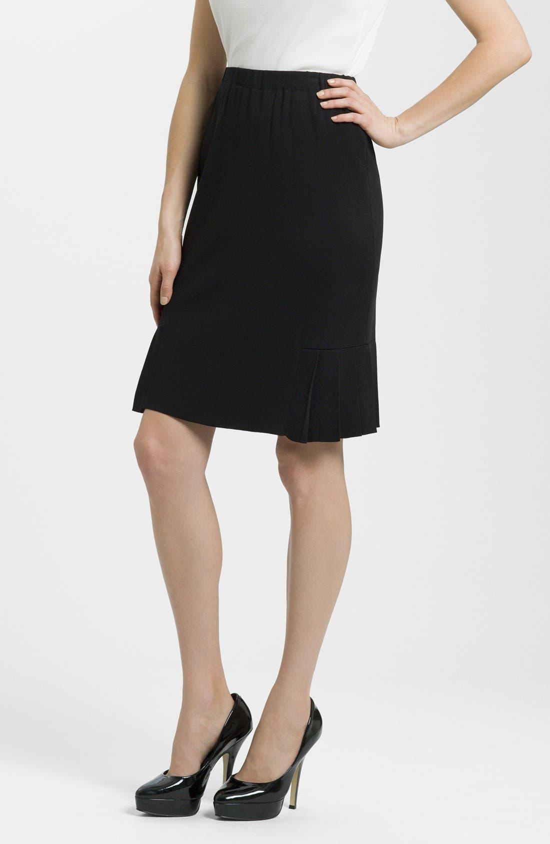 Side Pleat Knit Skirt,                         Main,                         color, BLACK