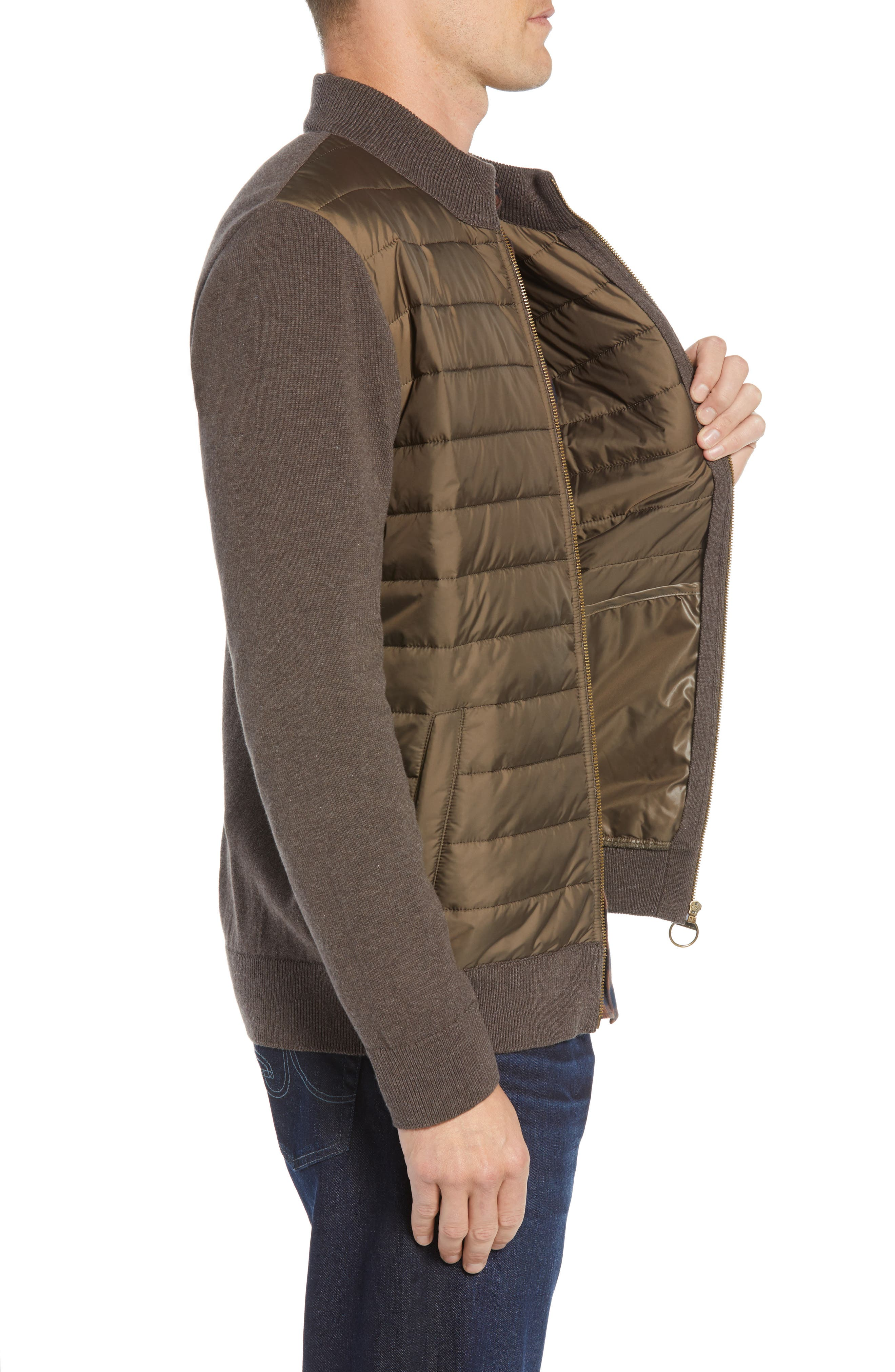 Carn Baffle Front Knit Jacket,                             Alternate thumbnail 3, color,                             CLAY