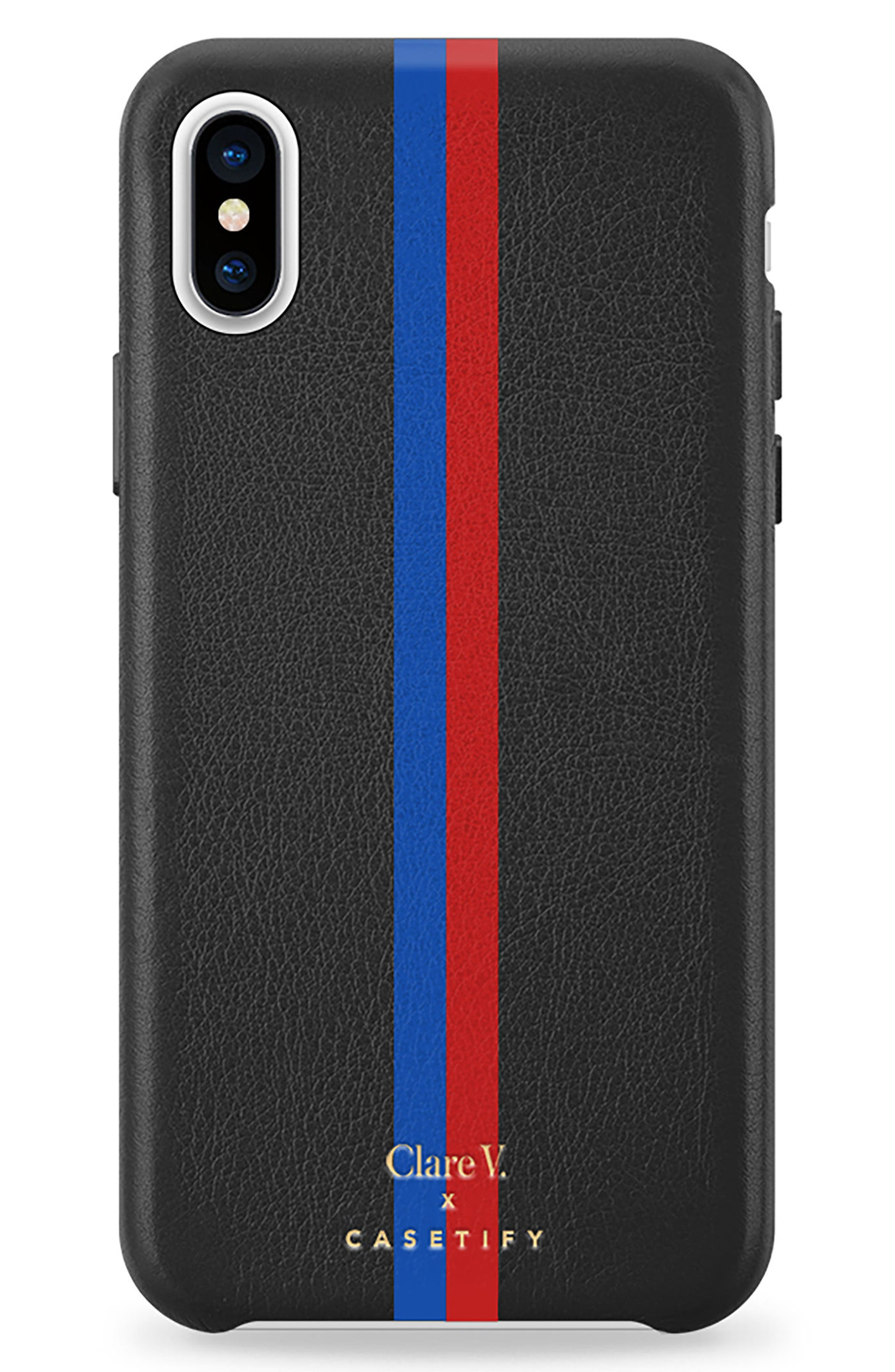 x Clare V. Stripe Leather iPhone X/Xs Case,                             Main thumbnail 1, color,                             001
