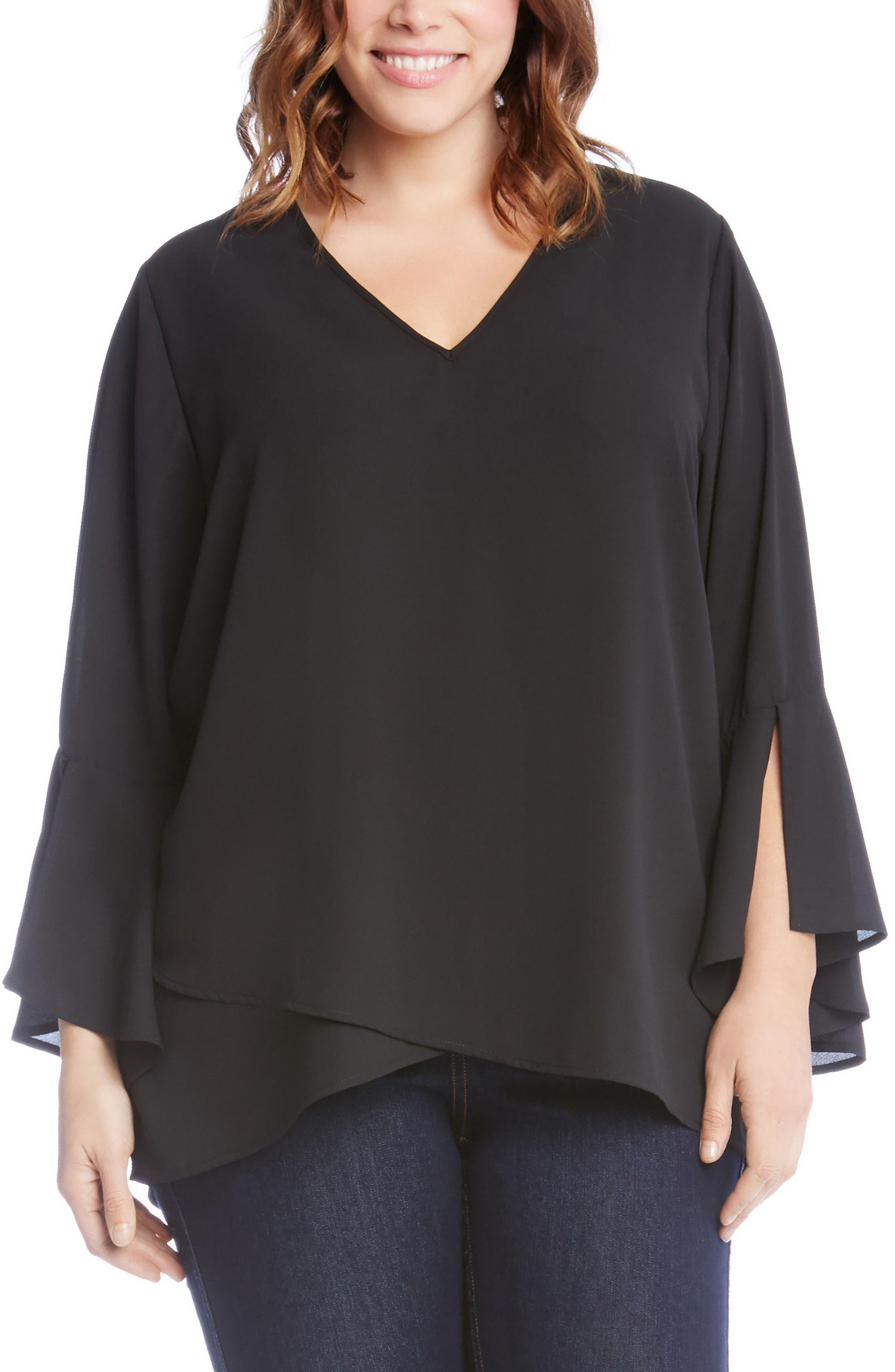 Split Sleeve Asymmetrical Hem Top,                         Main,                         color, 001