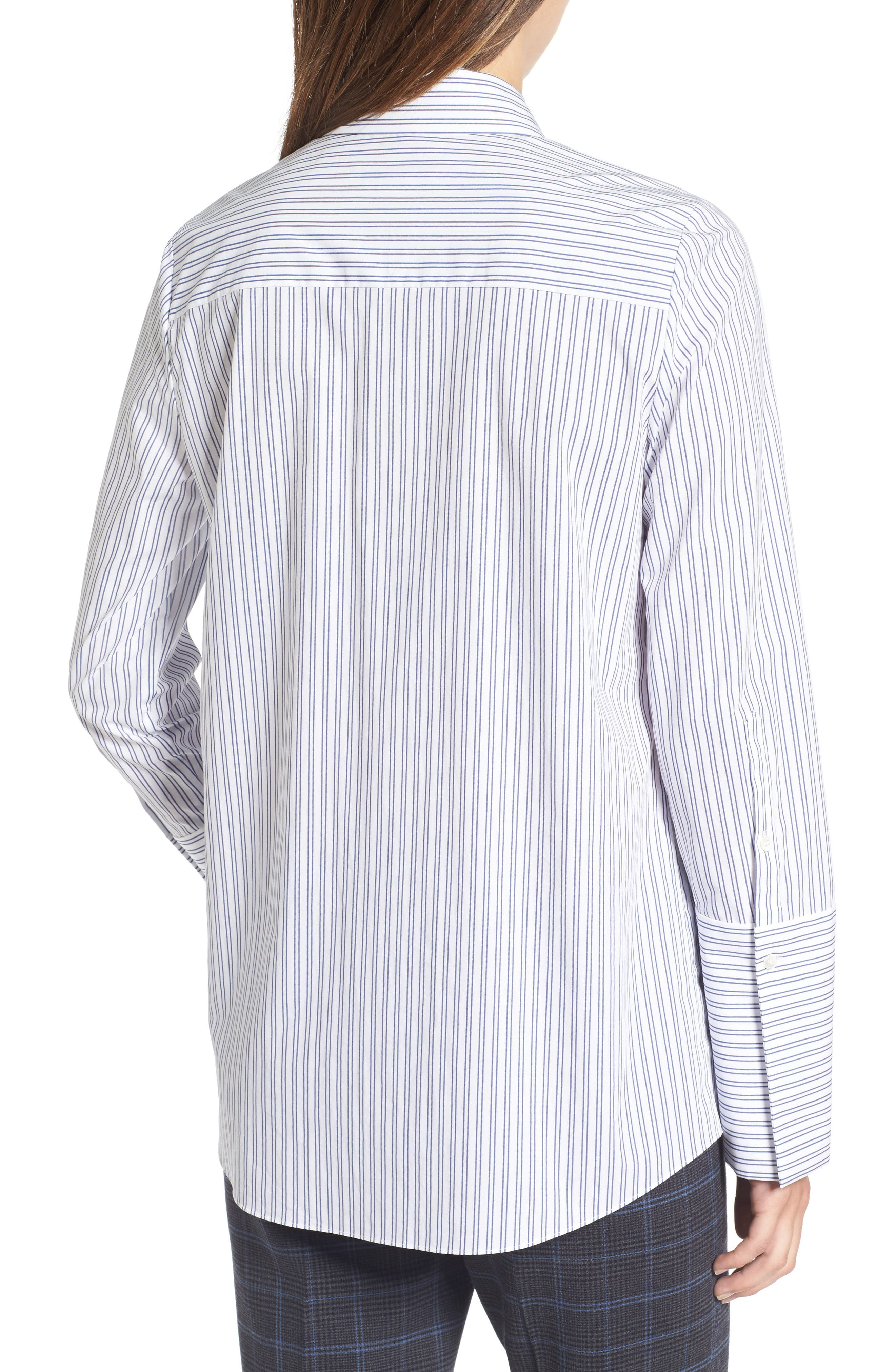 Exaggerated Cuff Stripe Shirt,                             Alternate thumbnail 2, color,                             450