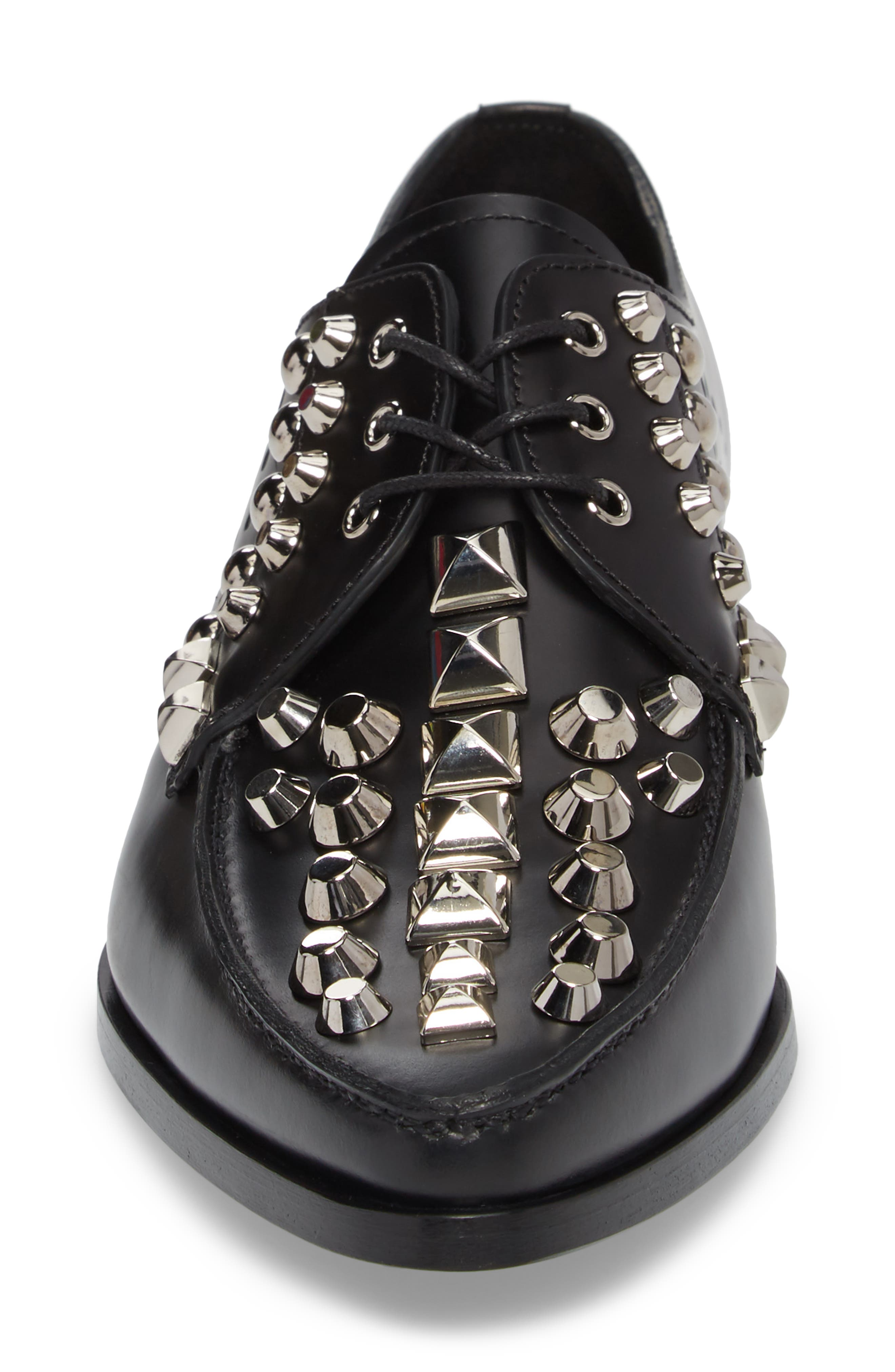 Studded Pointy Toe Oxford,                             Alternate thumbnail 4, color,