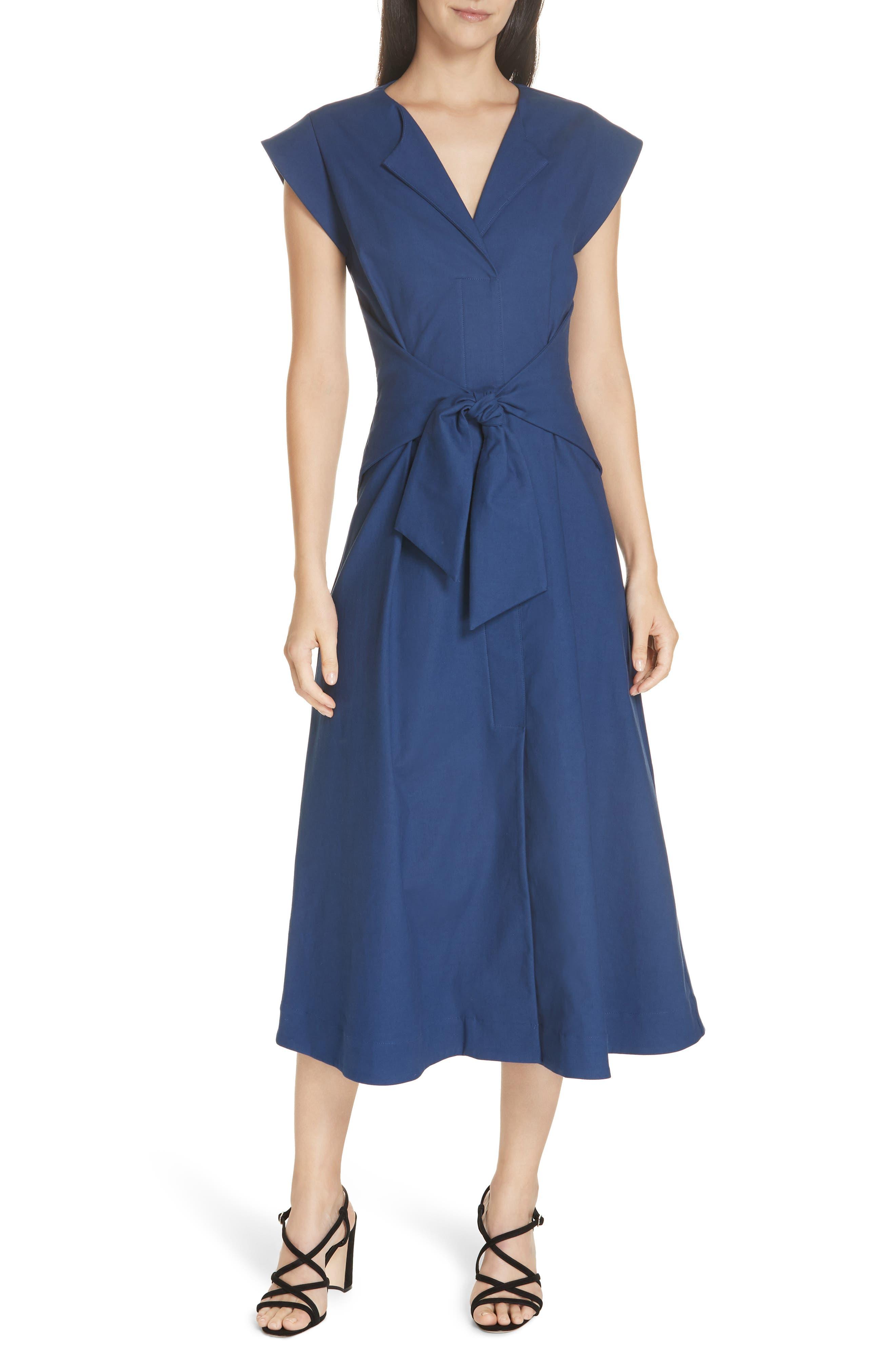 Lennox Belted Midi Dress, Main, color, BLUE