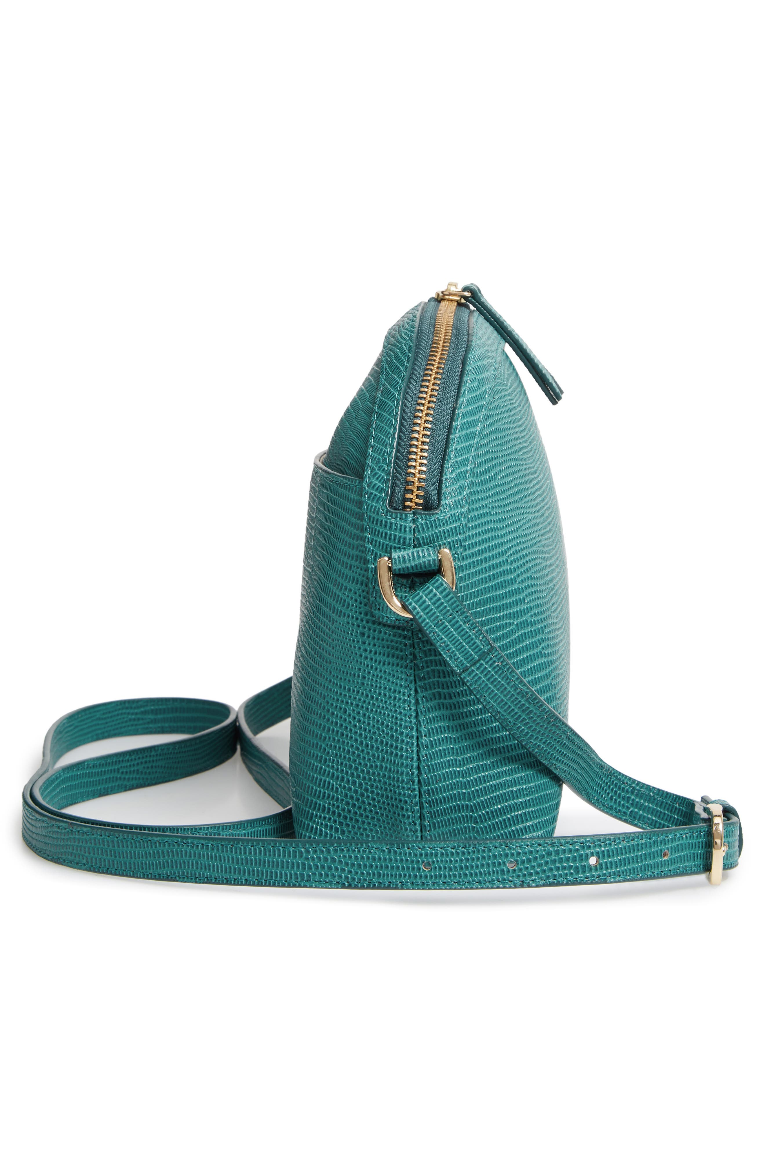 Isobel Half Moon Leather Crossbody Bag,                             Alternate thumbnail 5, color,                             TEAL HARBOR