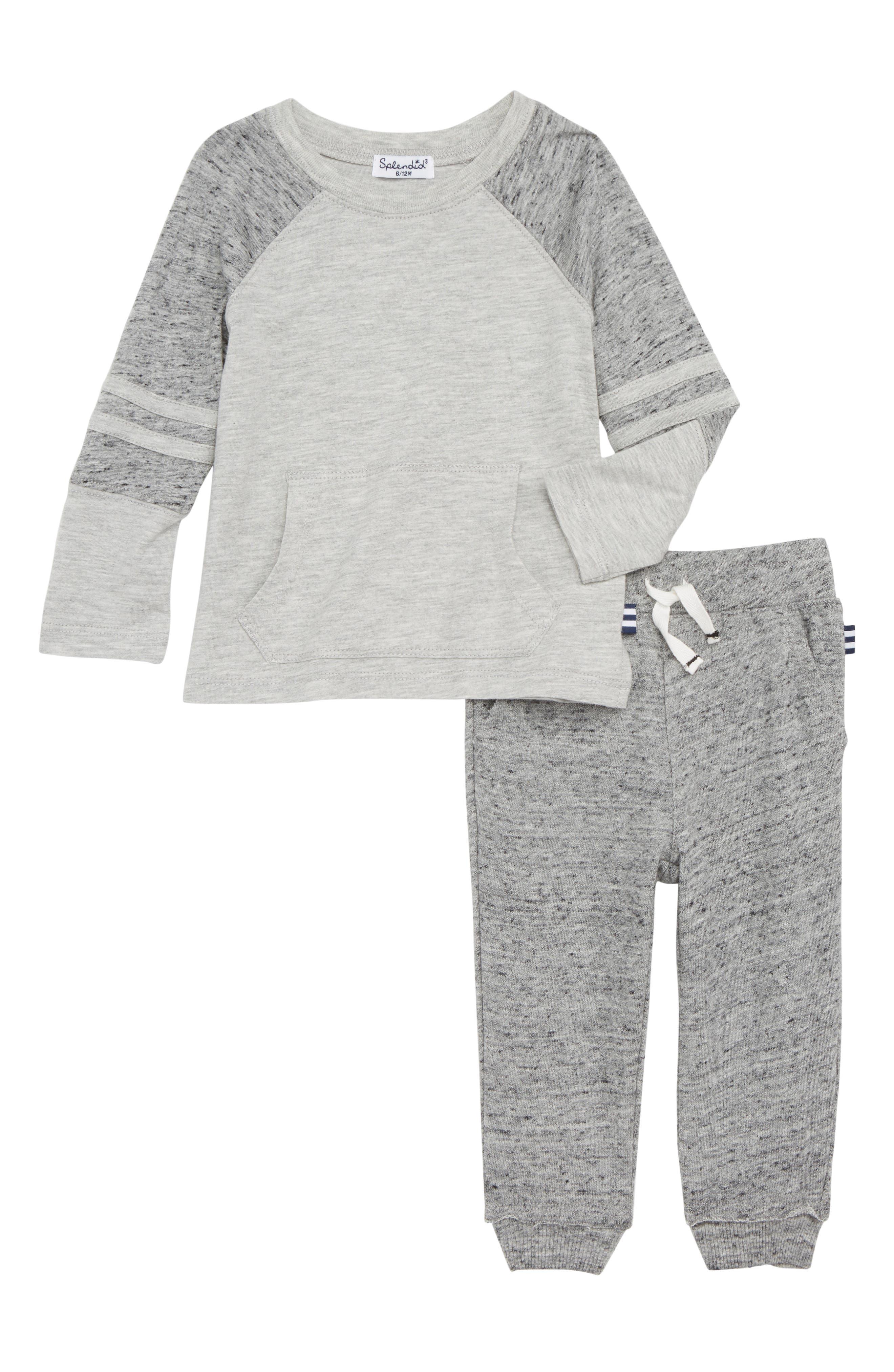 Raglan T-Shirt & Sweatpants Set,                         Main,                         color, LIGHT GREY HEATHER 051