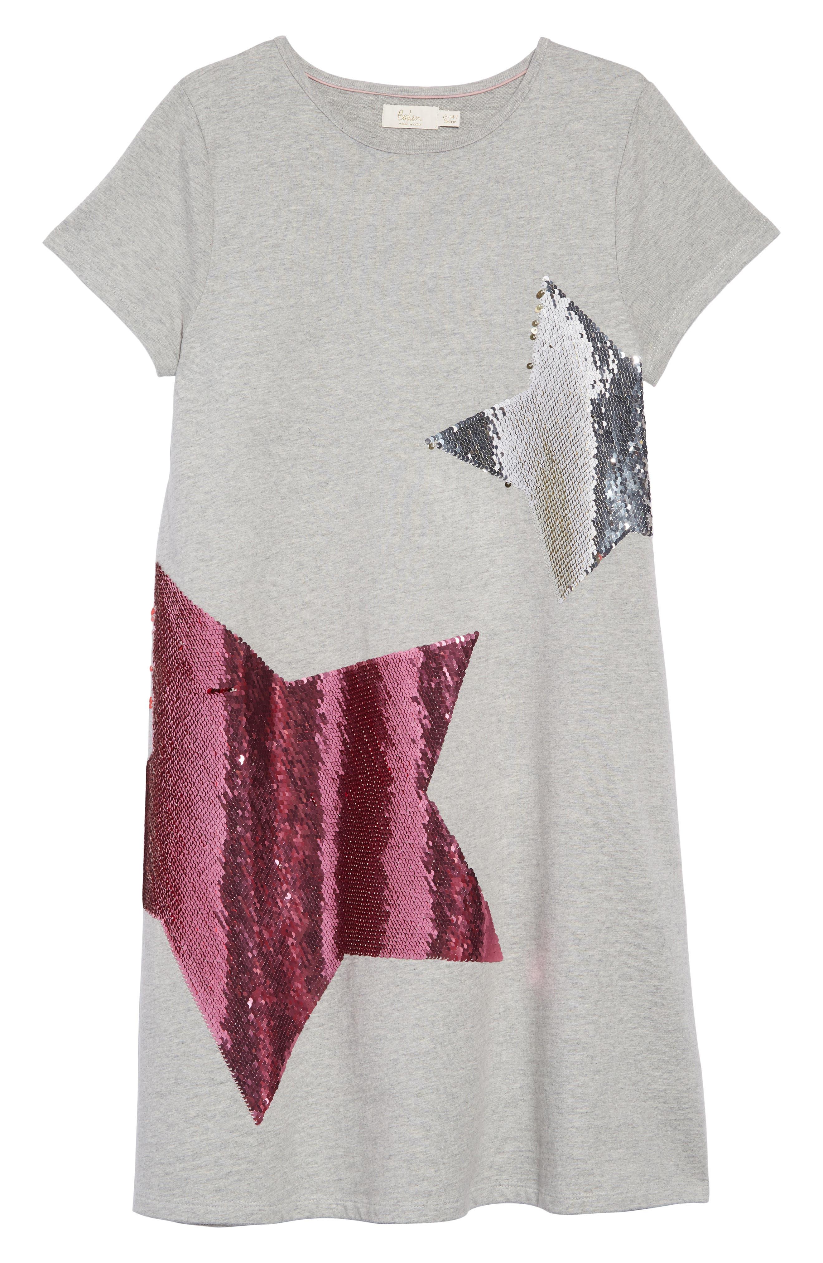 Shimmer Flip Sequin Star T-Shirt Dress,                             Main thumbnail 1, color,                             GRY GREY MARL/ RAINBOW SEQUINS