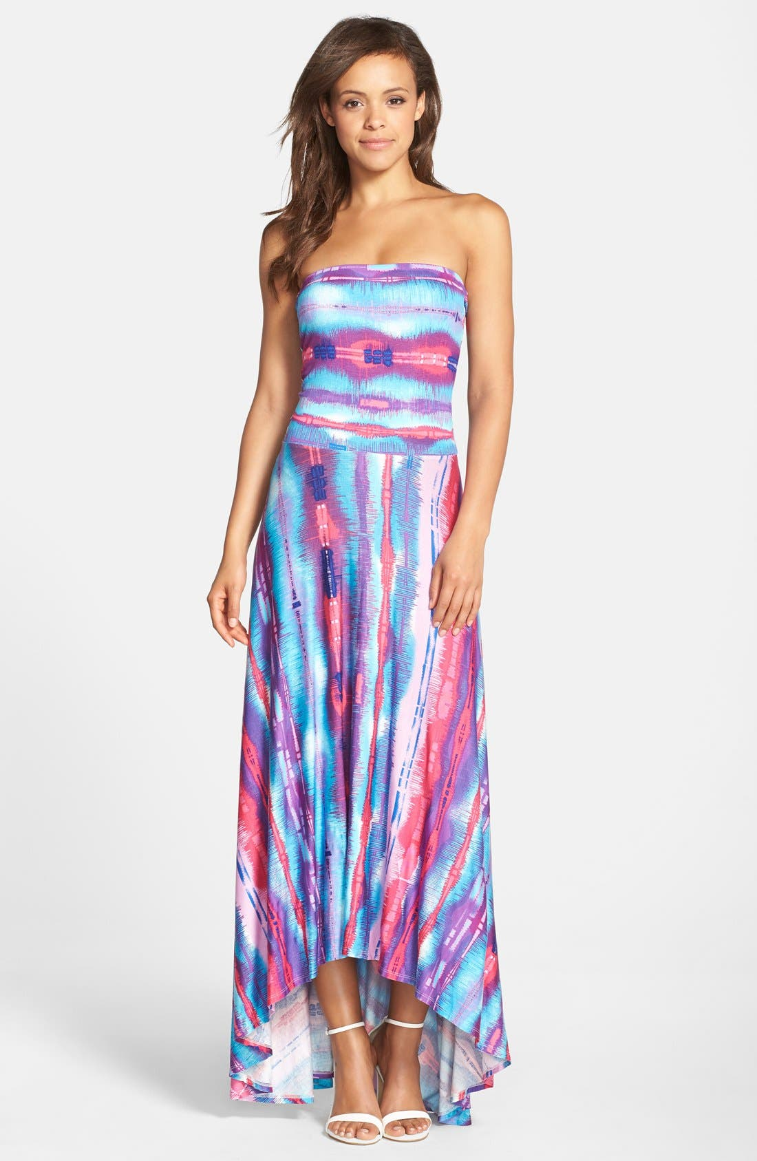 Strapless Neon Print Maxi Dress,                         Main,                         color,
